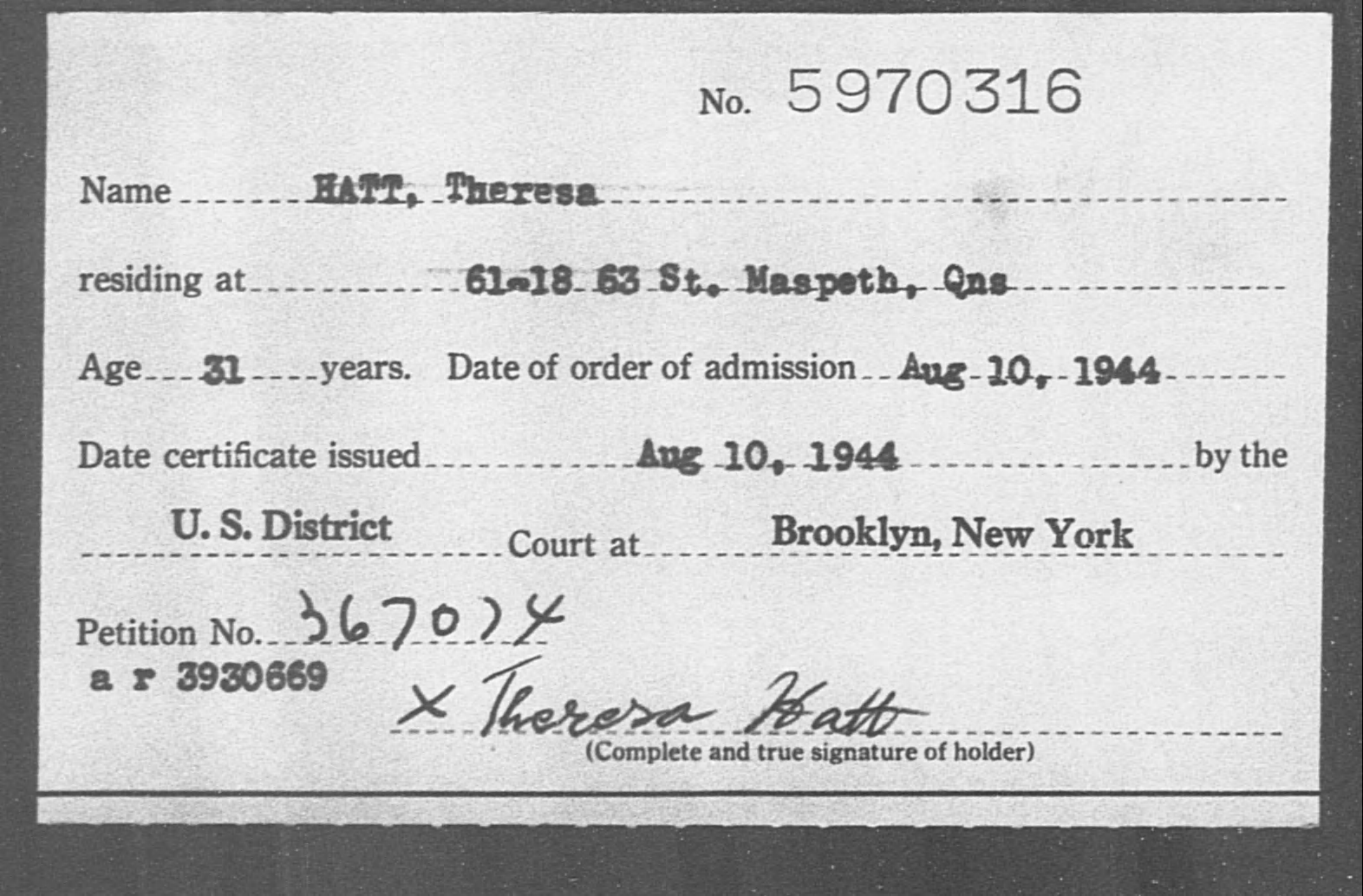 HATT, Theresa - Born: [BLANK], Naturalized: 1944