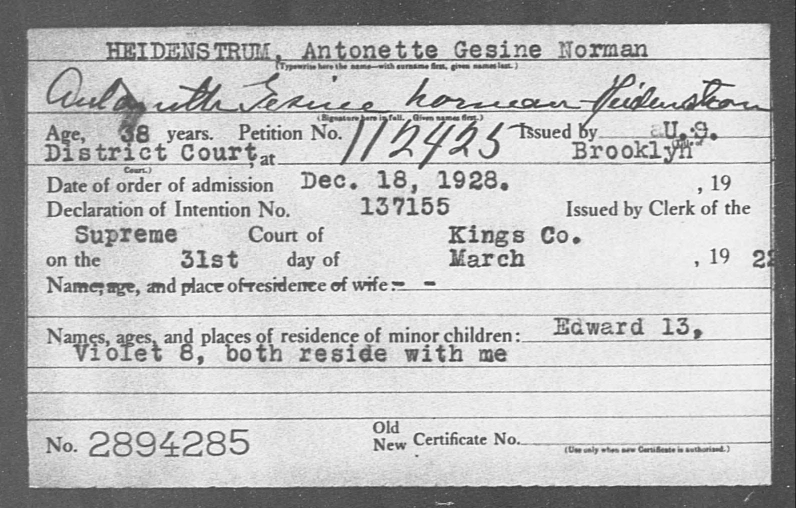 HEIDENSTRUM, Antonette Gesine Norman - Born: [BLANK], Naturalized: 1928