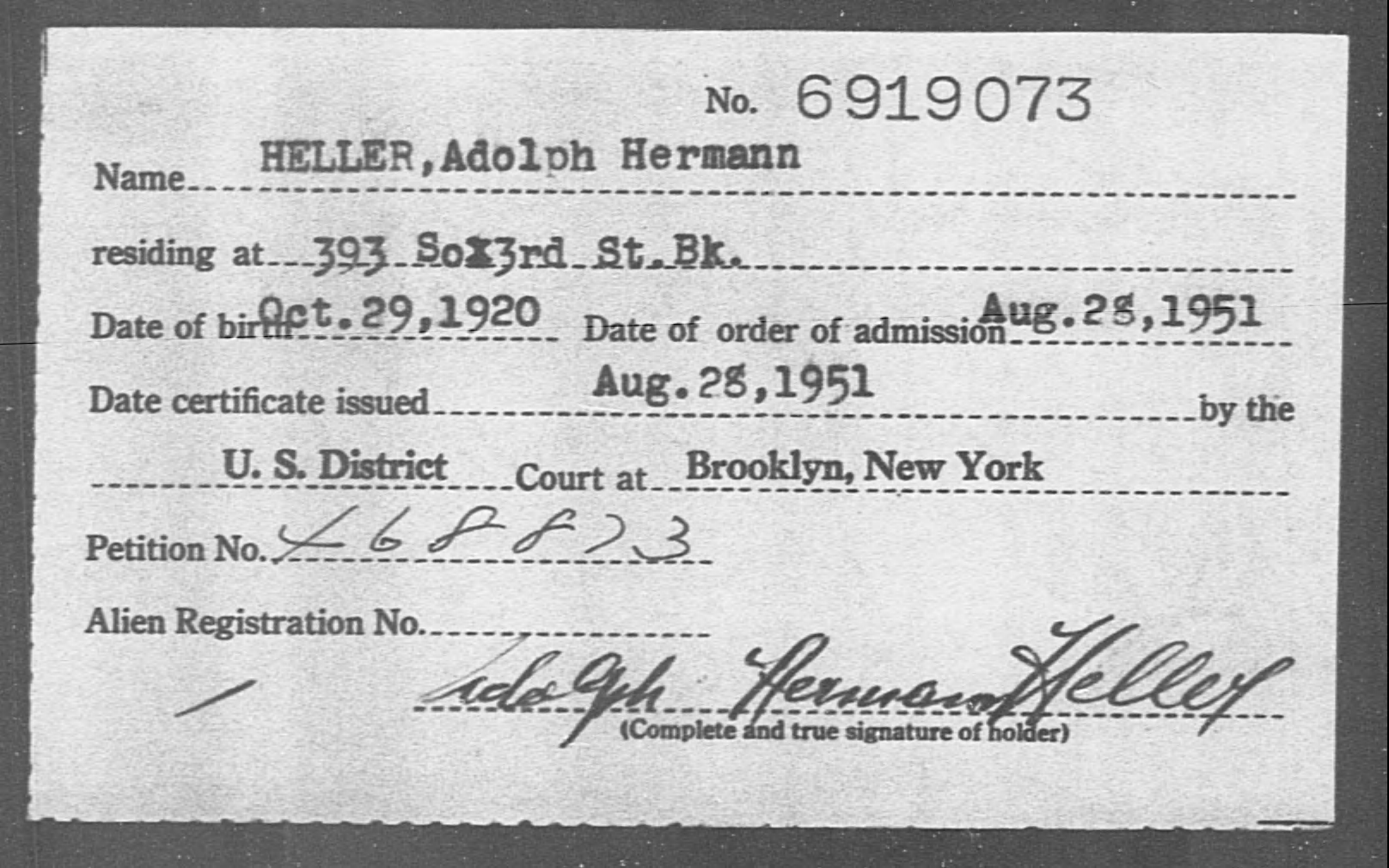 HELLER, Adolph Hermann - Born: 1920, Naturalized: 1951