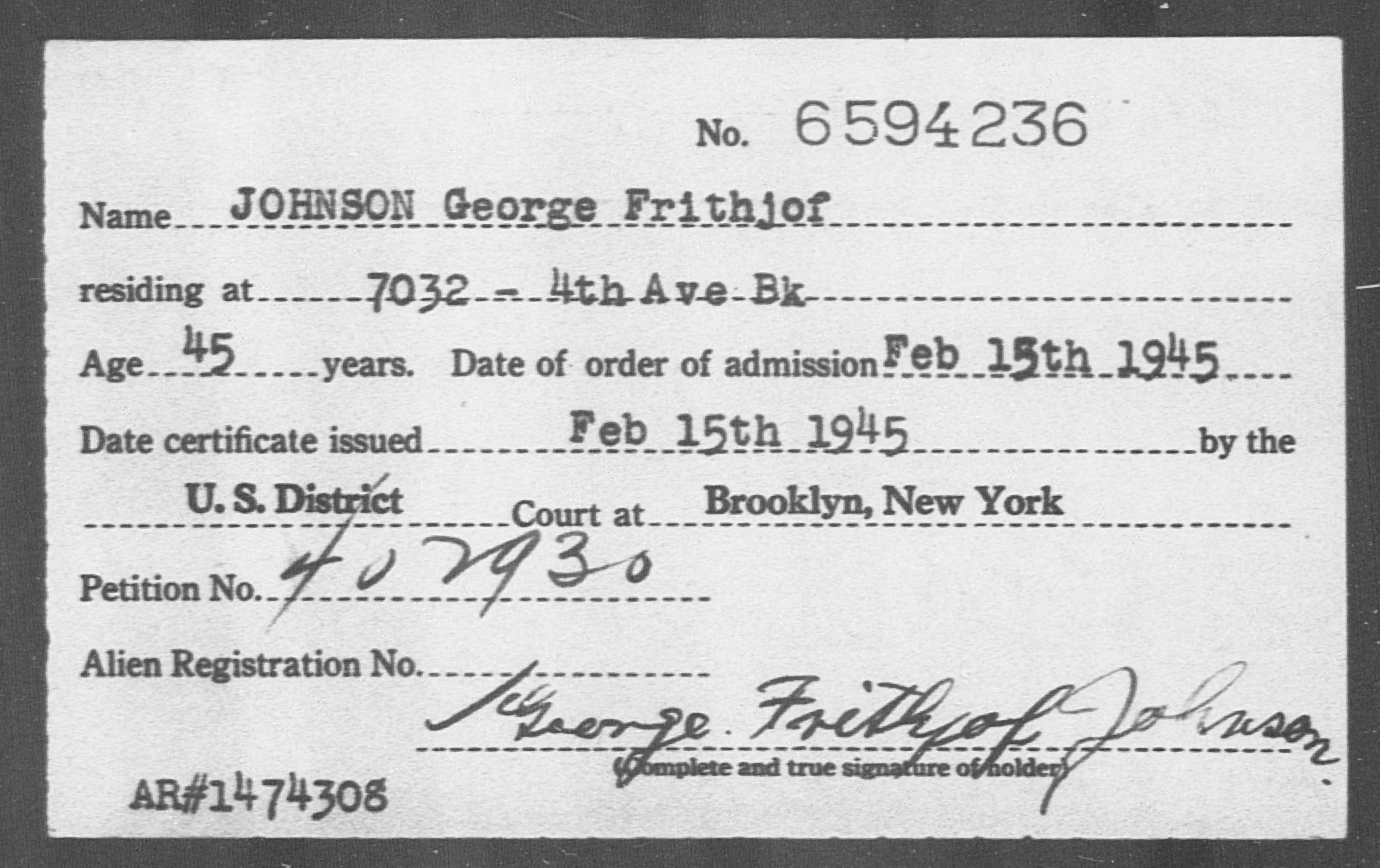 JOHNSON George Frithjof - Born: [BLANK], Naturalized: 1945