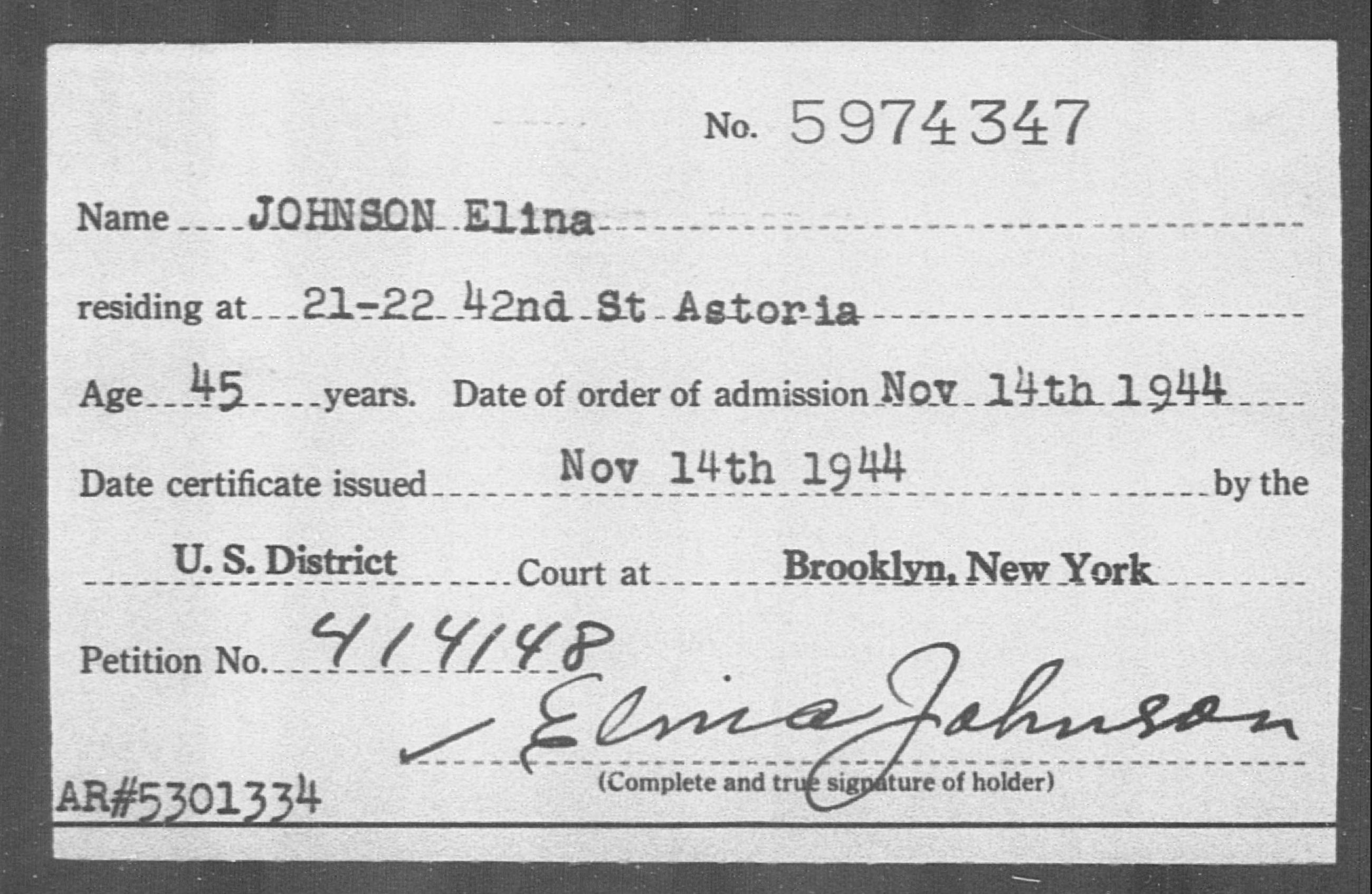 JOHNSON Elina - Born: [BLANK], Naturalized: 1944