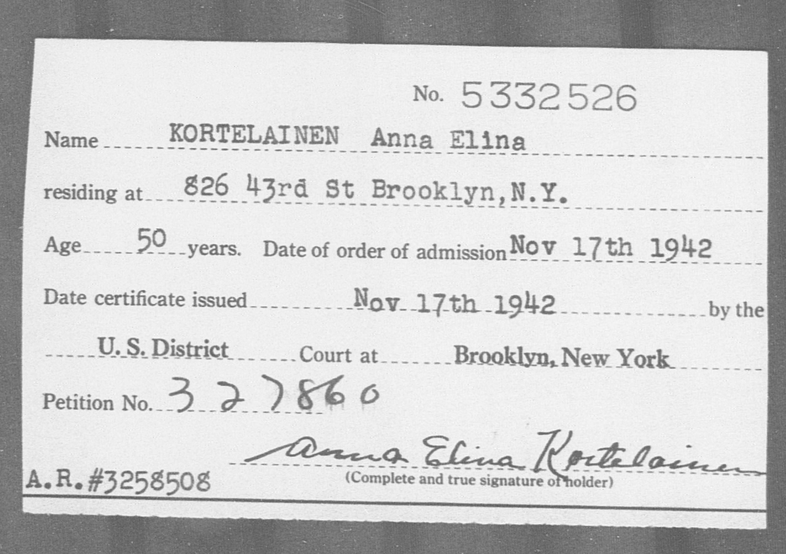KORTELAINEN Anna Elina - Born: [BLANK], Naturalized: 1942