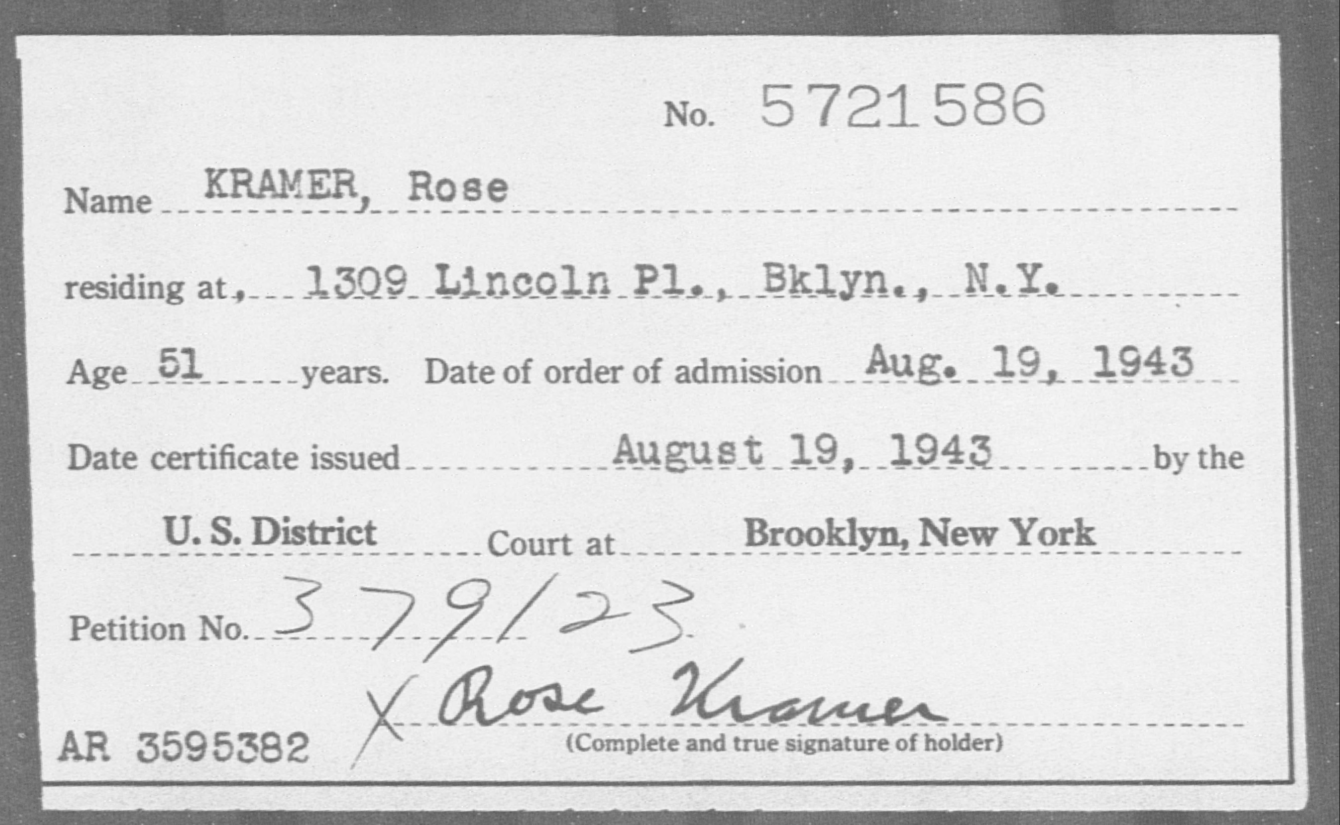 KRAMER, Rose - Born: [BLANK], Naturalized: 1943