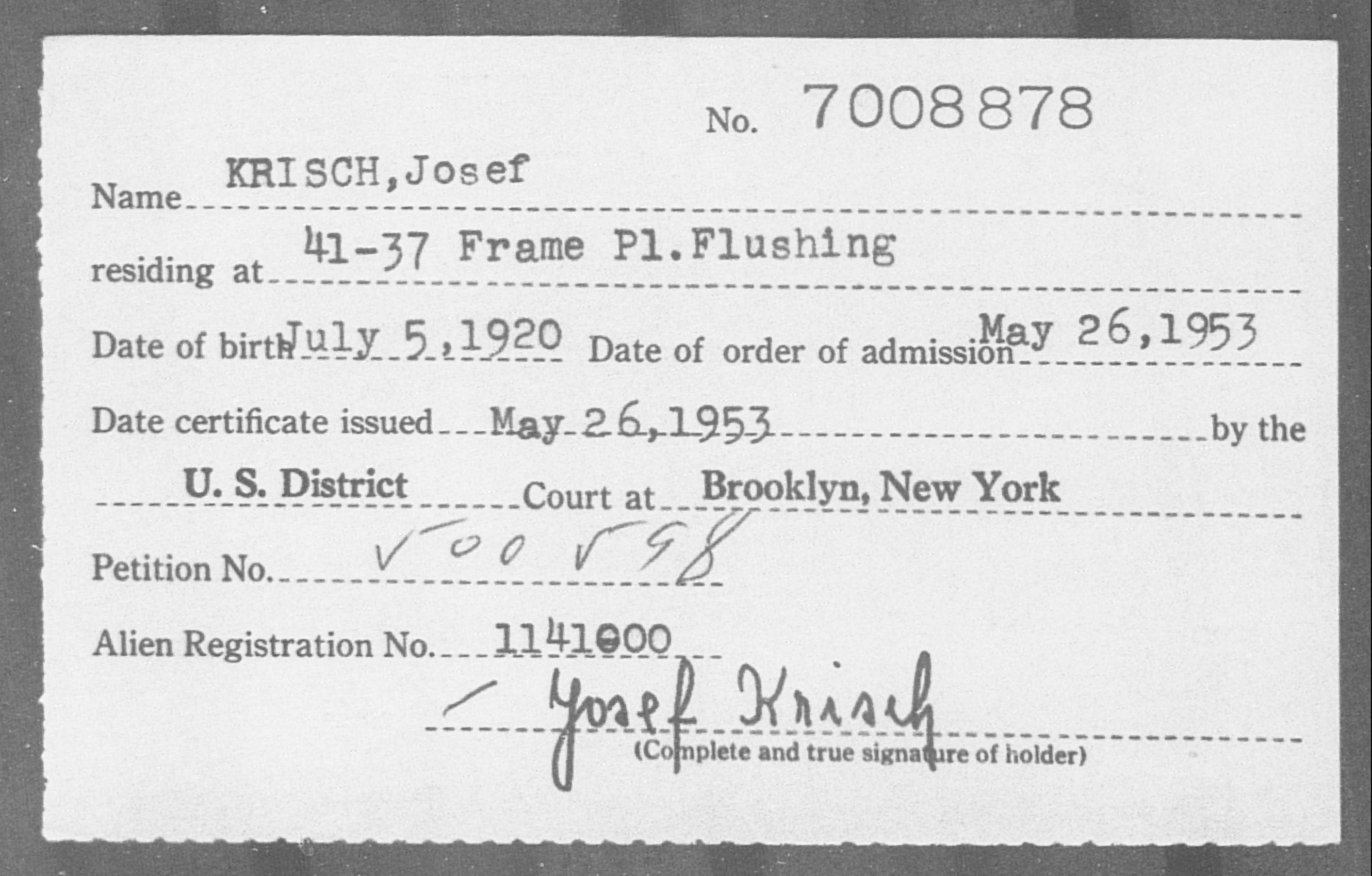 KRISCH, Josef - Born: 1920, Naturalized: 1953