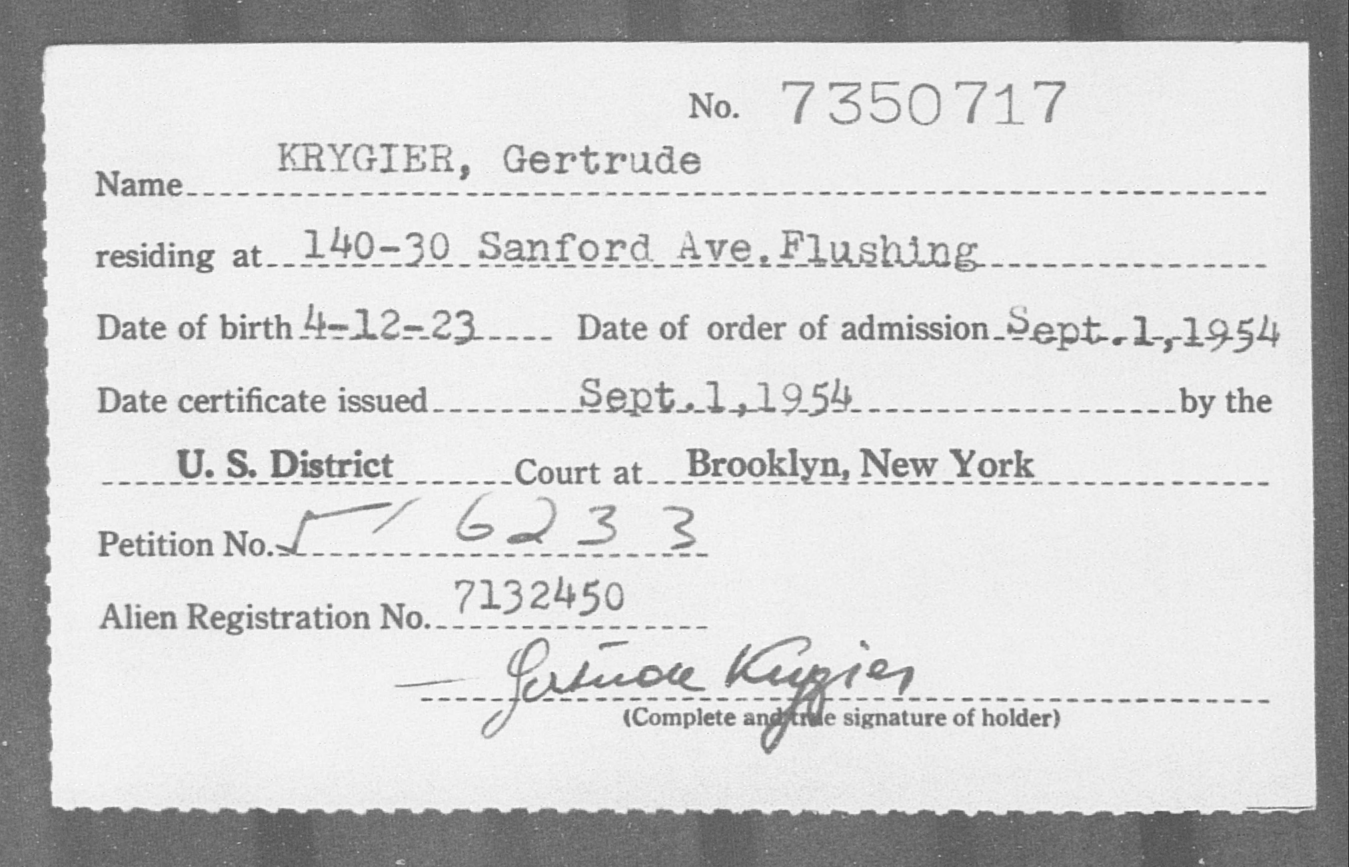 KRYGIER, Gertrude - Born: 1923, Naturalized: 1954