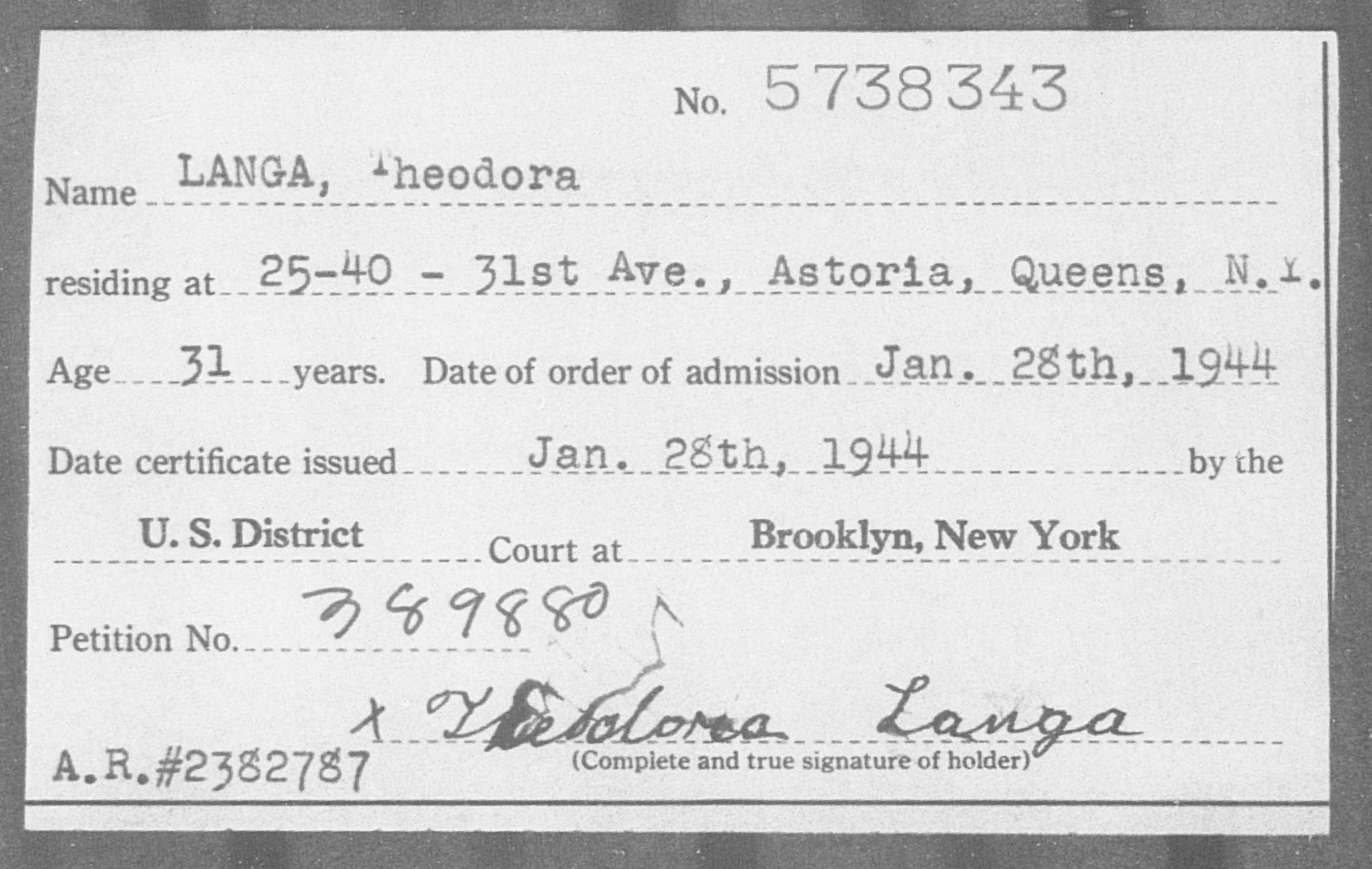 Langa, Theodora - Born: [BLANK], Naturalized: 1944