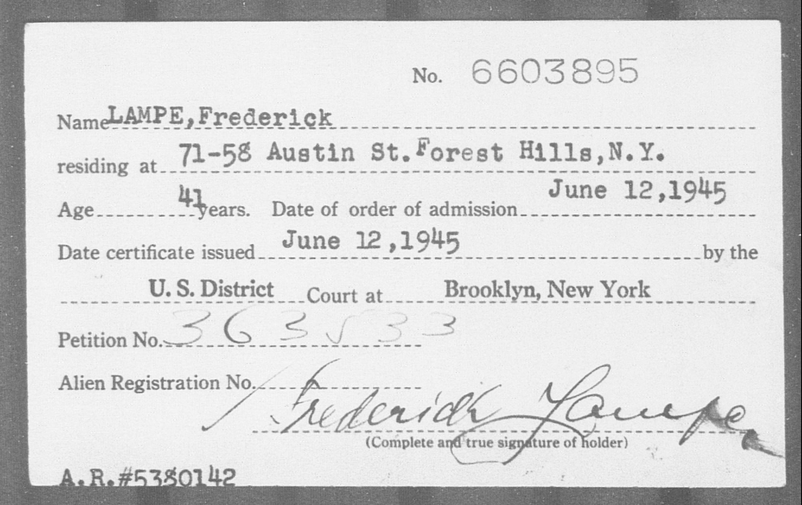 Lampe, Frederick - Born: [BLANK], Naturalized: 1945