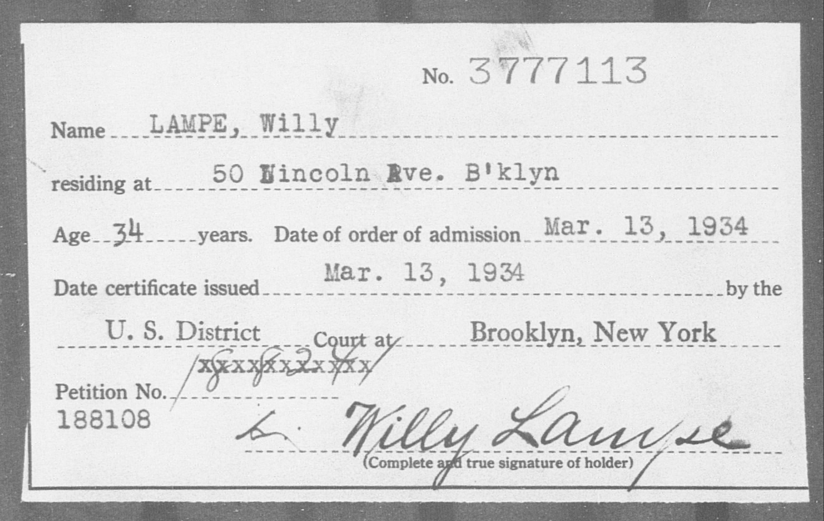 Lampe, Willy - Born: [BLANK], Naturalized: 1934