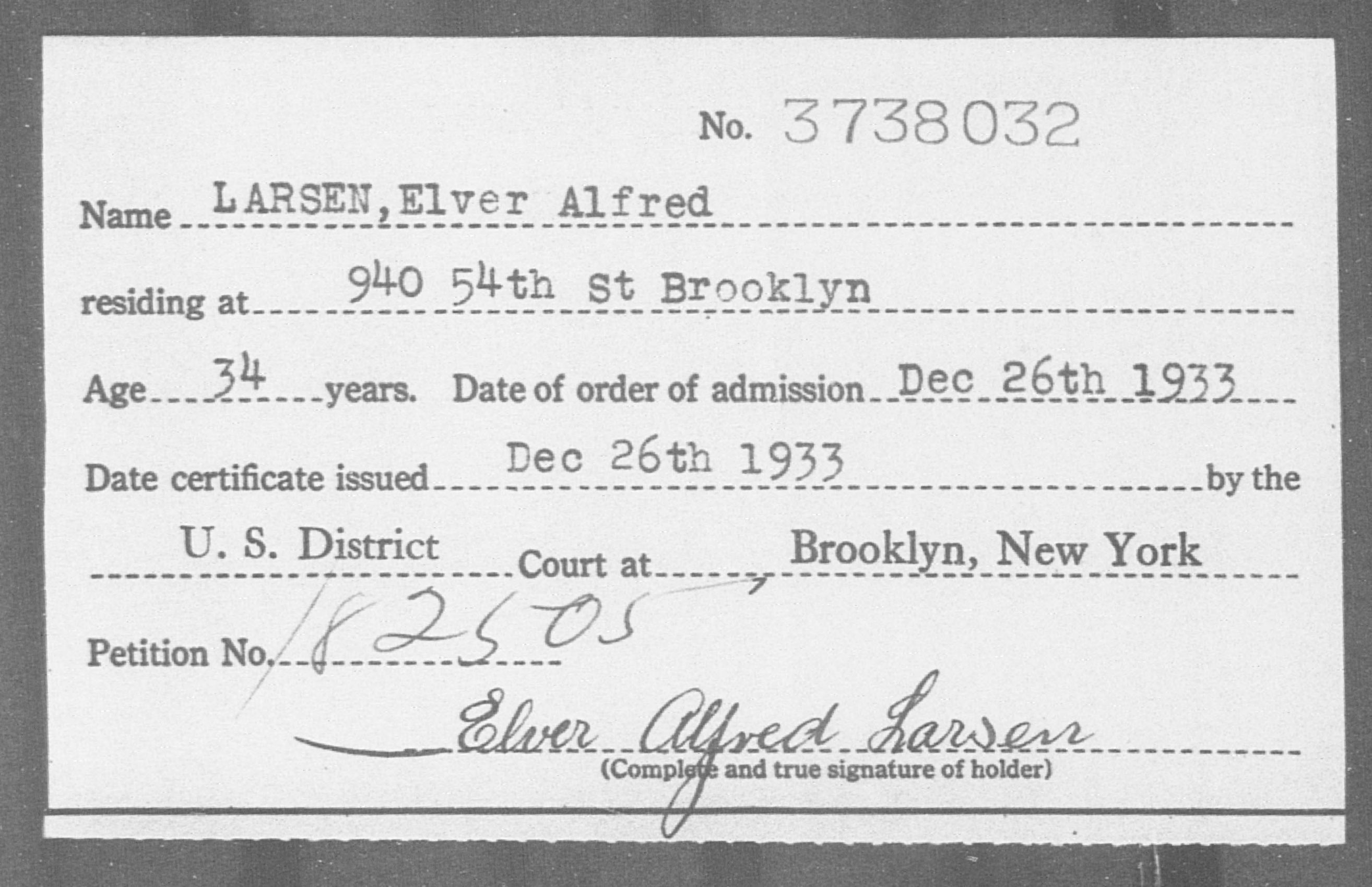 LARSEN, Elver Alfred - Born: [BLANK], Naturalized: 1933