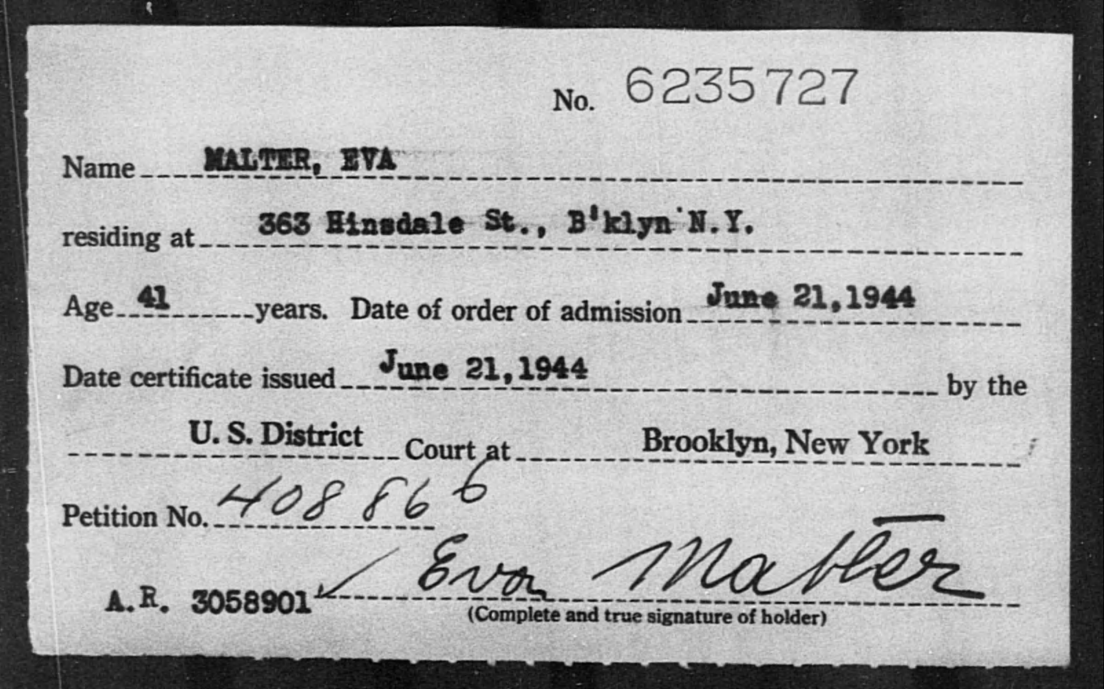 Malter, Eva - Born: [BLANK], Naturalized: 1944