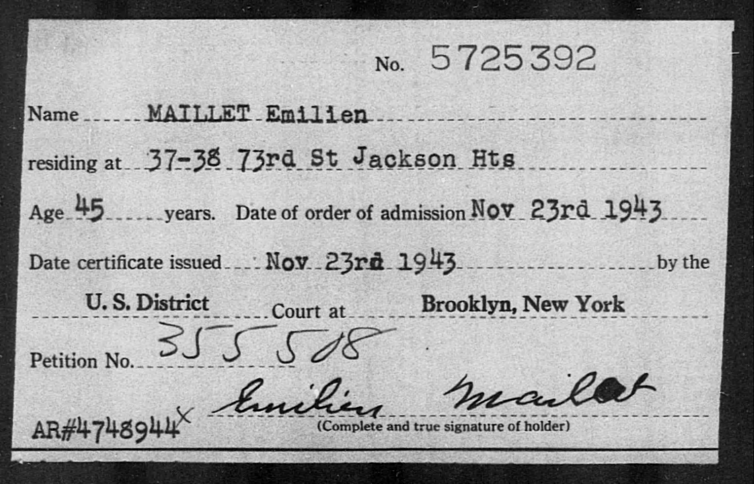 Maillet, Emilien - Born: [BLANK], Naturalized: 1943