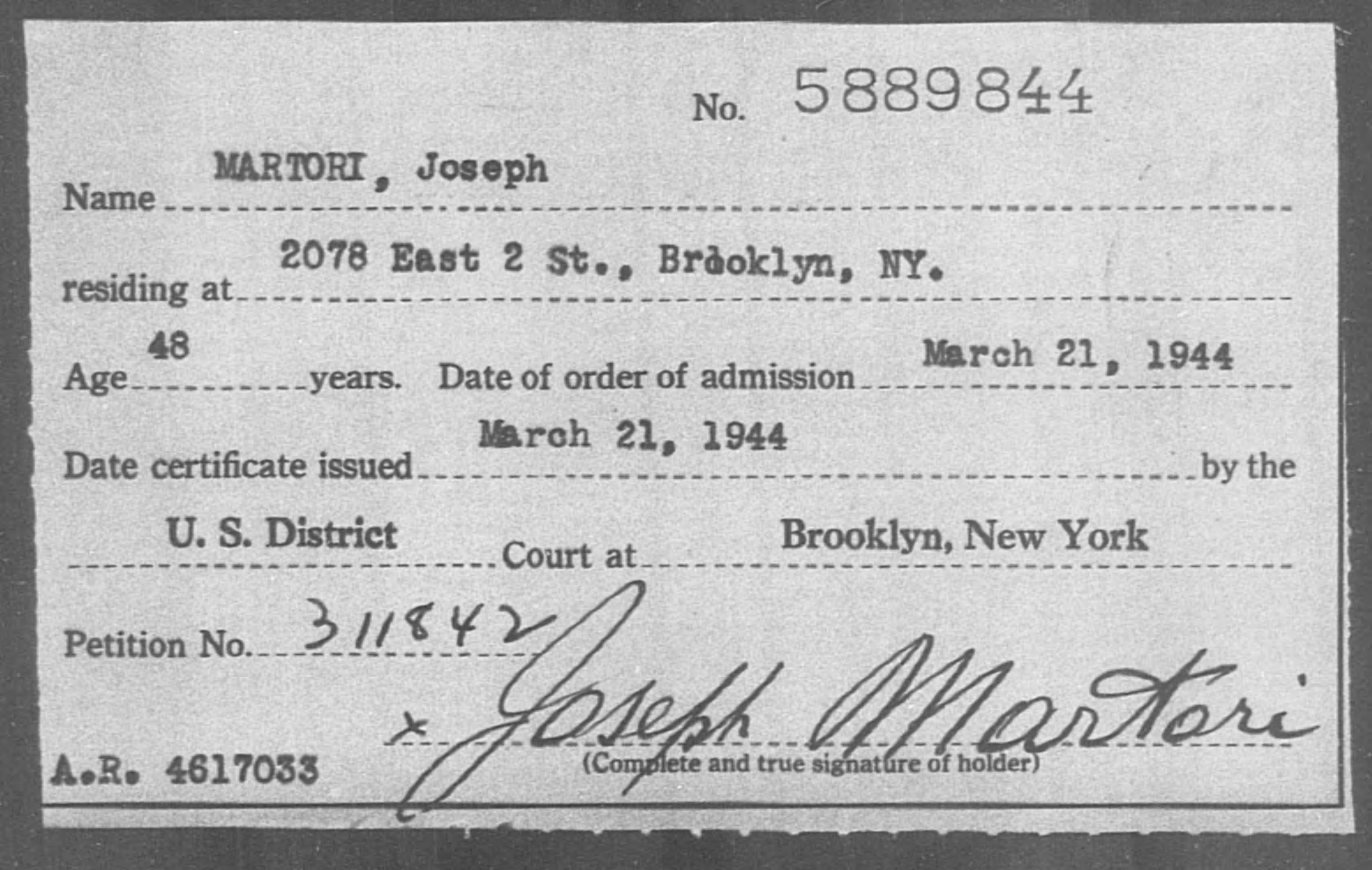 MARTORI, Joseph - Born: [BLANK], Naturalized: 1944