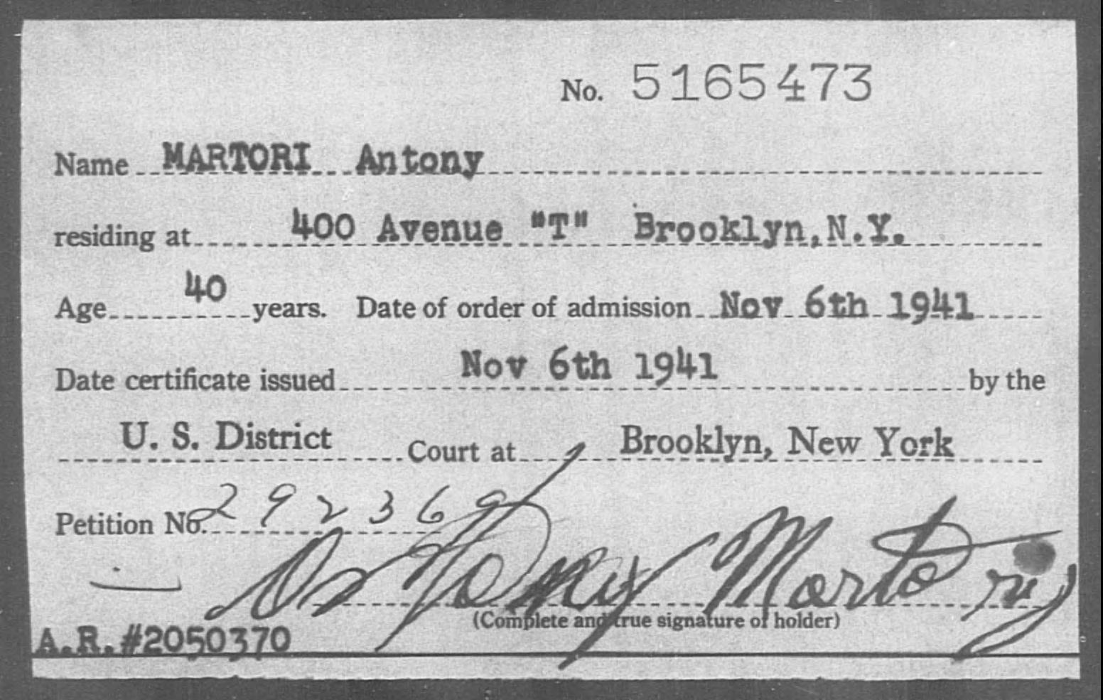 MARTORI Antony - Born: [BLANK], Naturalized: 1941