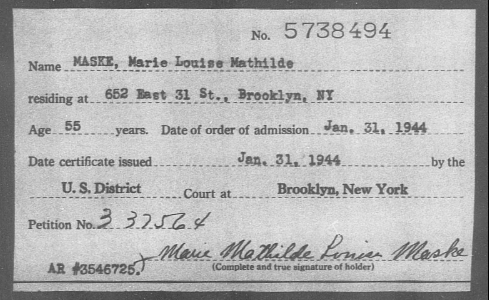 MASKE, Marie Louise Mathilde - Born: [BLANK], Naturalized: 1944