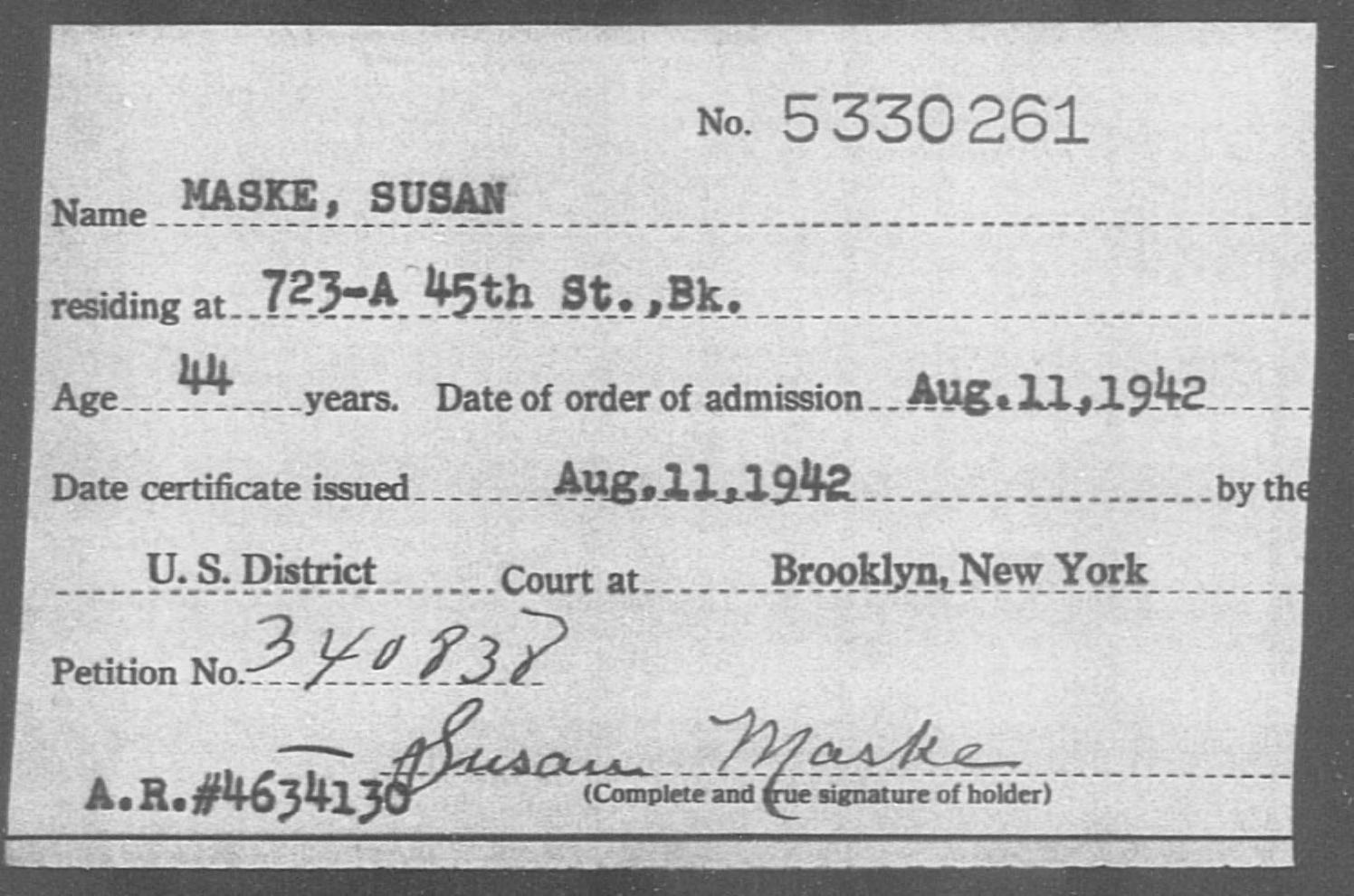 MASKE, SUSAN - Born: [BLANK], Naturalized: 1942