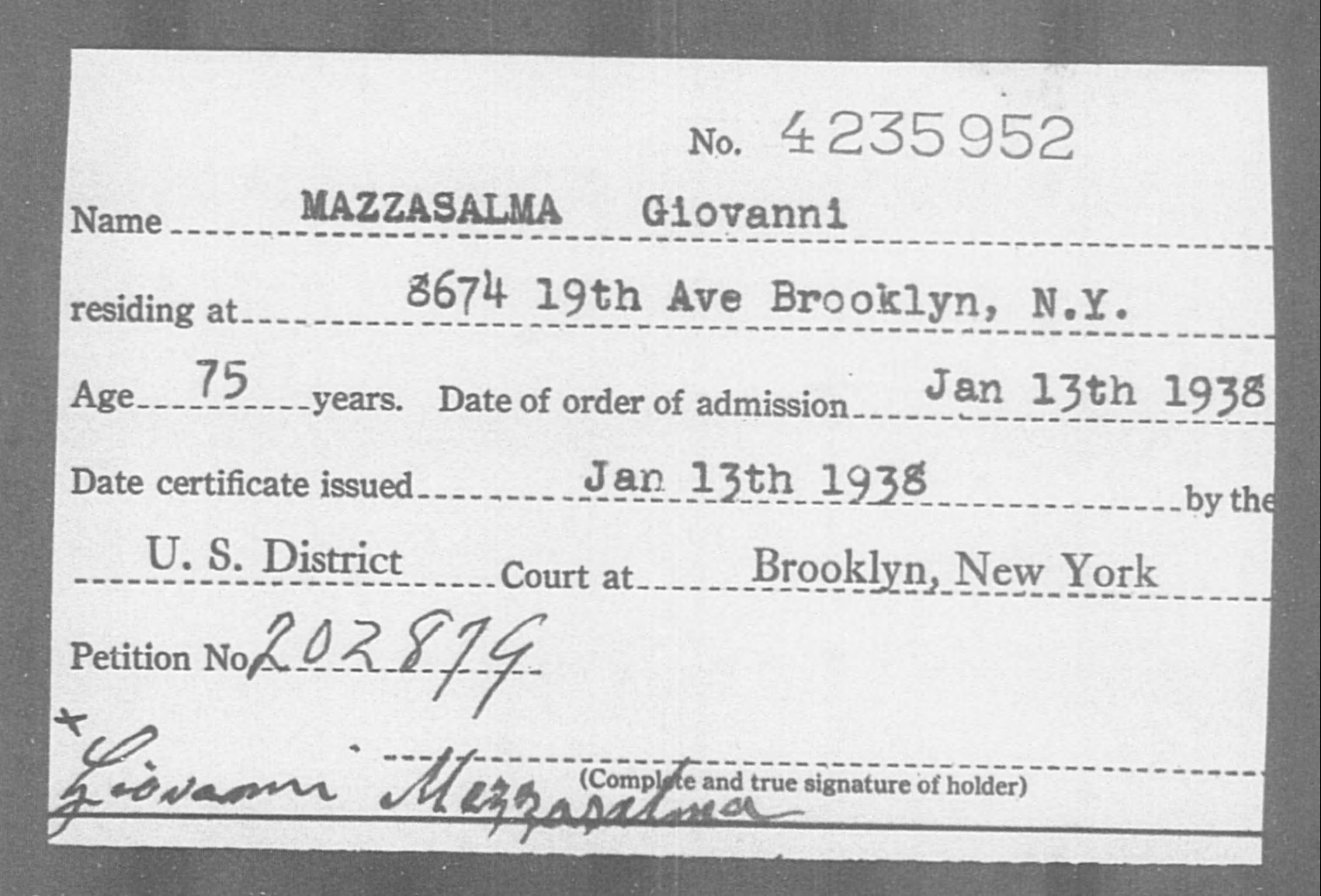 MAZZASALMA Giovanni - Born: [BLANK], Naturalized: 1938