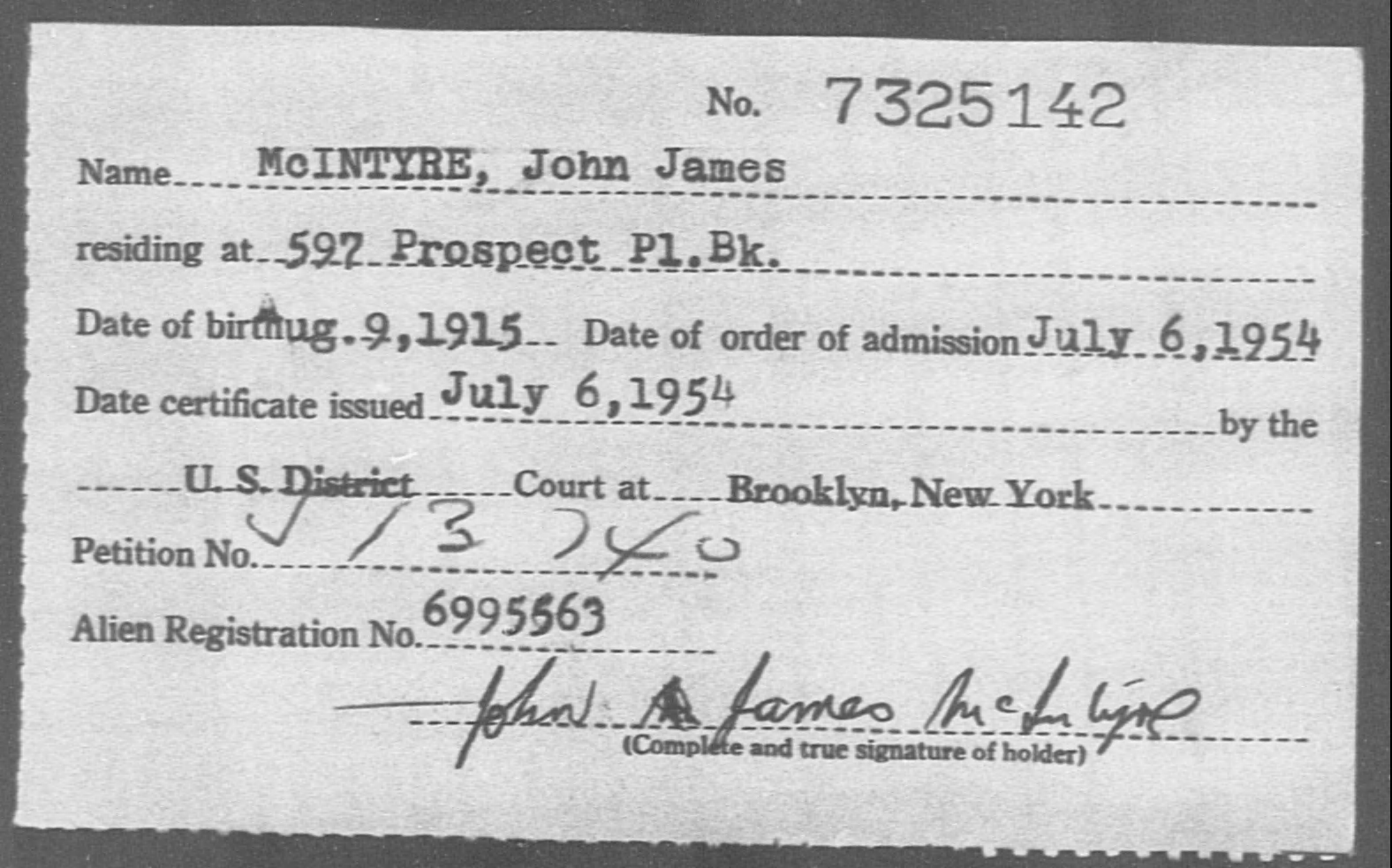 McINTYRE, John James - Born: 1915, Naturalized: 1954