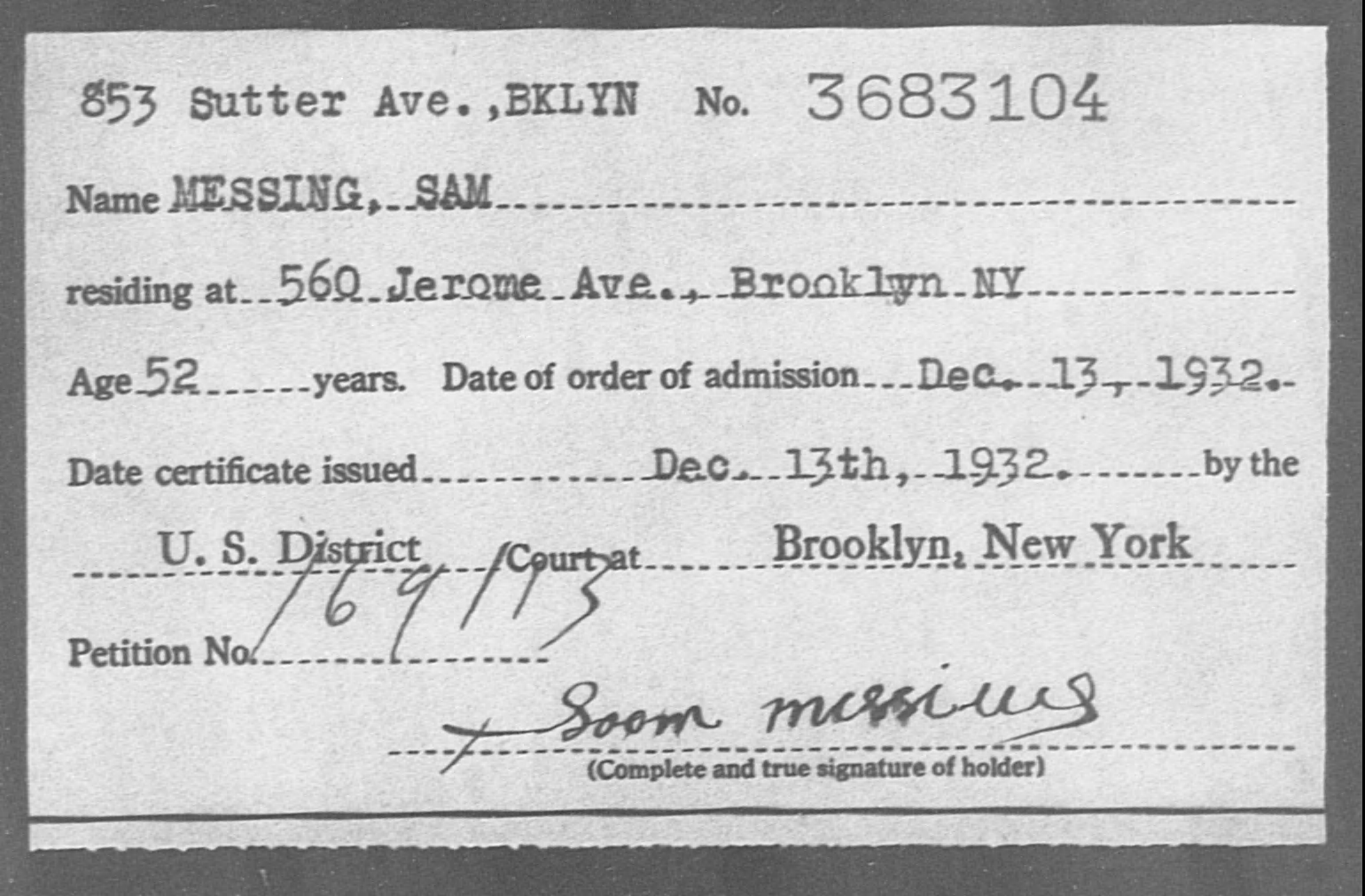 MESSING, SAM - Born: [BLANK], Naturalized: 1932
