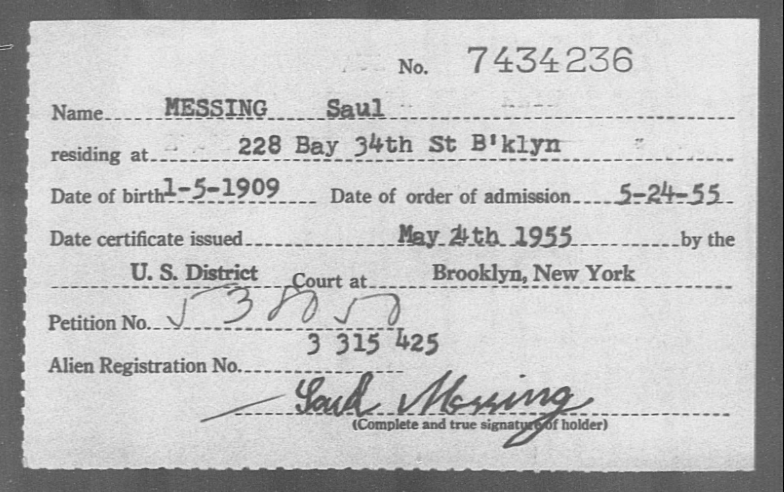 MESSING Saul - Born: 1909, Naturalized: 1955