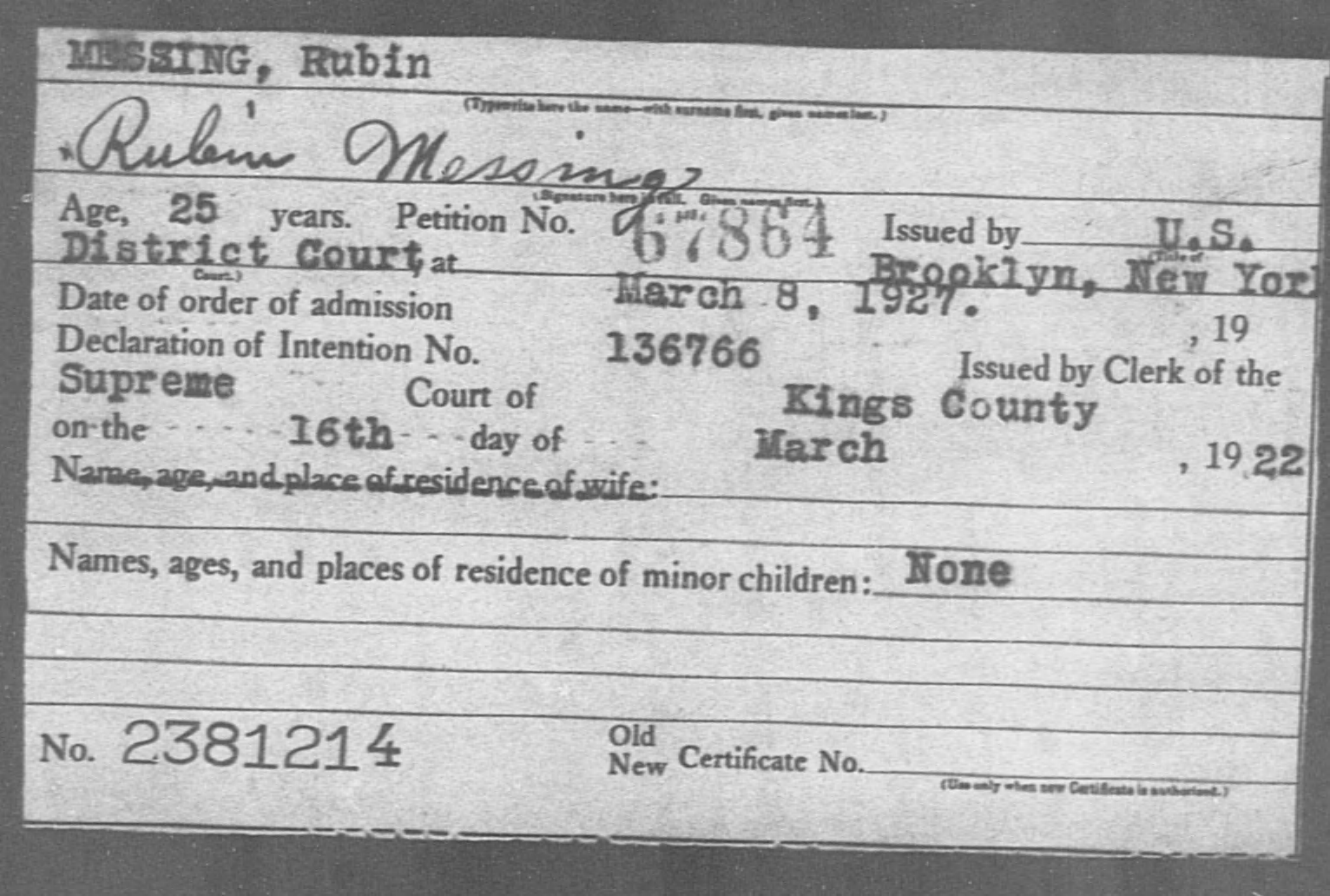 MESSING, Rubin - Born: [BLANK], Naturalized: 1927