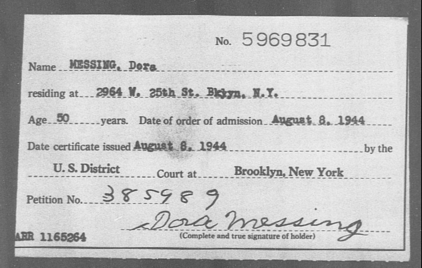 MESSING, Dora - Born: [BLANK], Naturalized: 1944