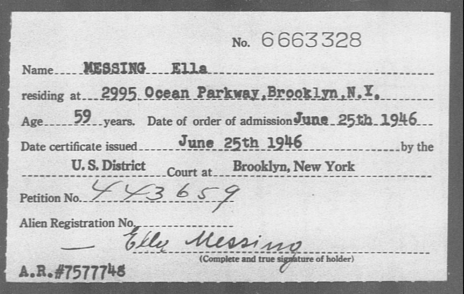 MESSING Ella - Born: [BLANK], Naturalized: 1946
