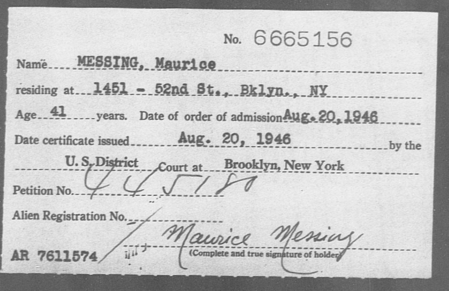 MESSING, Maurice - Born: [BLANK], Naturalized: 1946