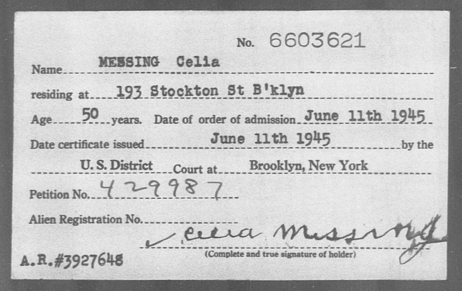 MESSING Celia - Born: [BLANK], Naturalized: 1945