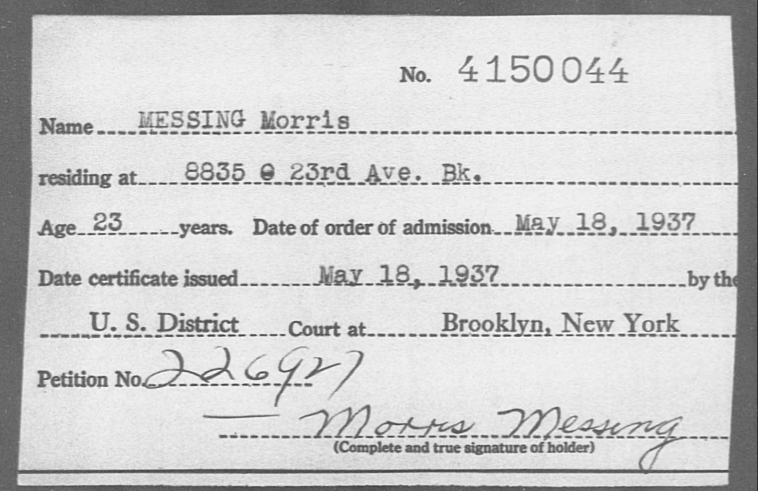 MESSING Morris - Born: [BLANK], Naturalized: 1937