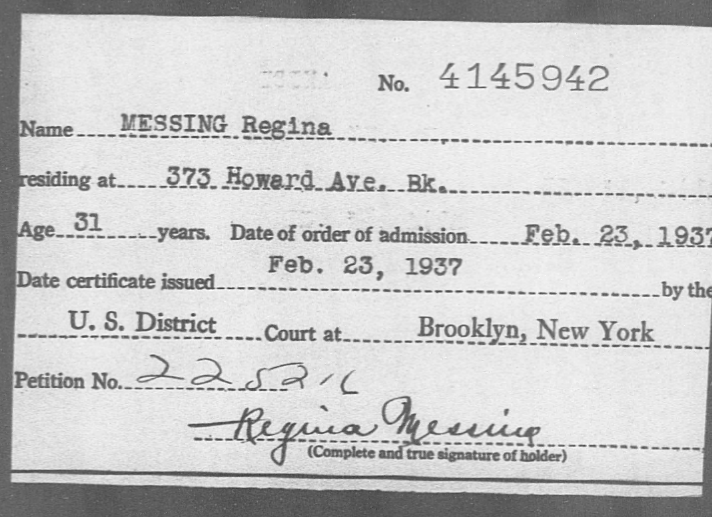 MESSING Regina - Born: [BLANK], Naturalized: 1937