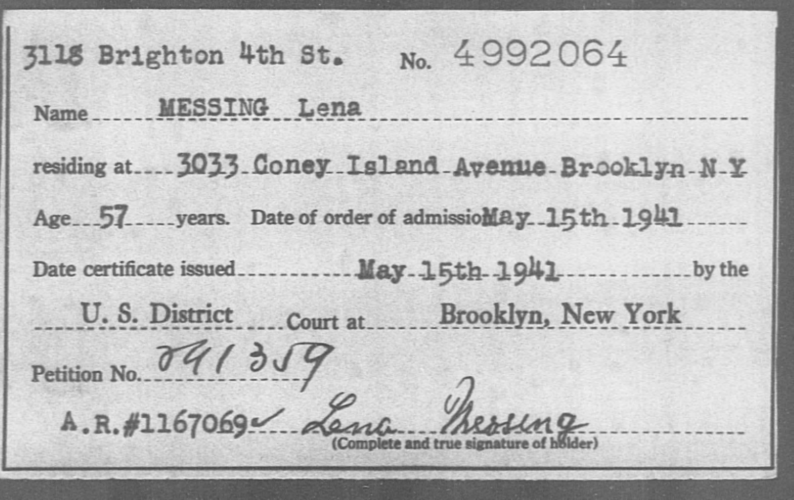 MESSING Lena - Born: [BLANK], Naturalized: 1941
