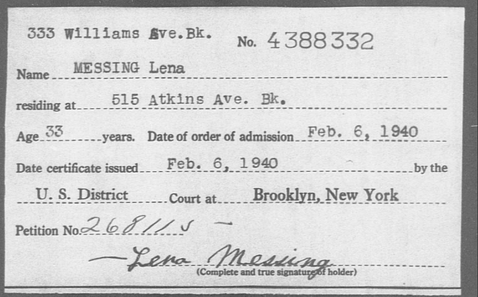 MESSING Lena - Born: [BLANK], Naturalized: 1940
