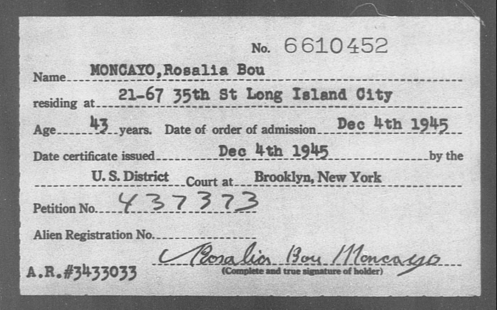 MONCAYO, Rosalia Bou - Born: [BLANK], Naturalized: 1945