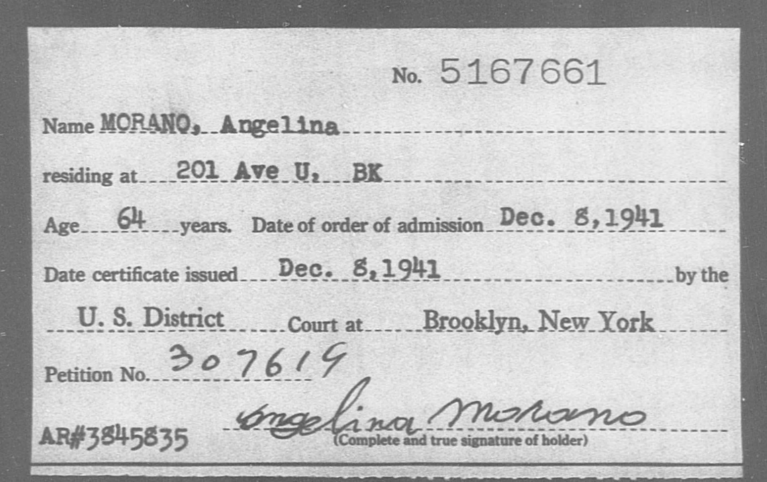 MORANO, Angelina - Born: [BLANK], Naturalized: 1941