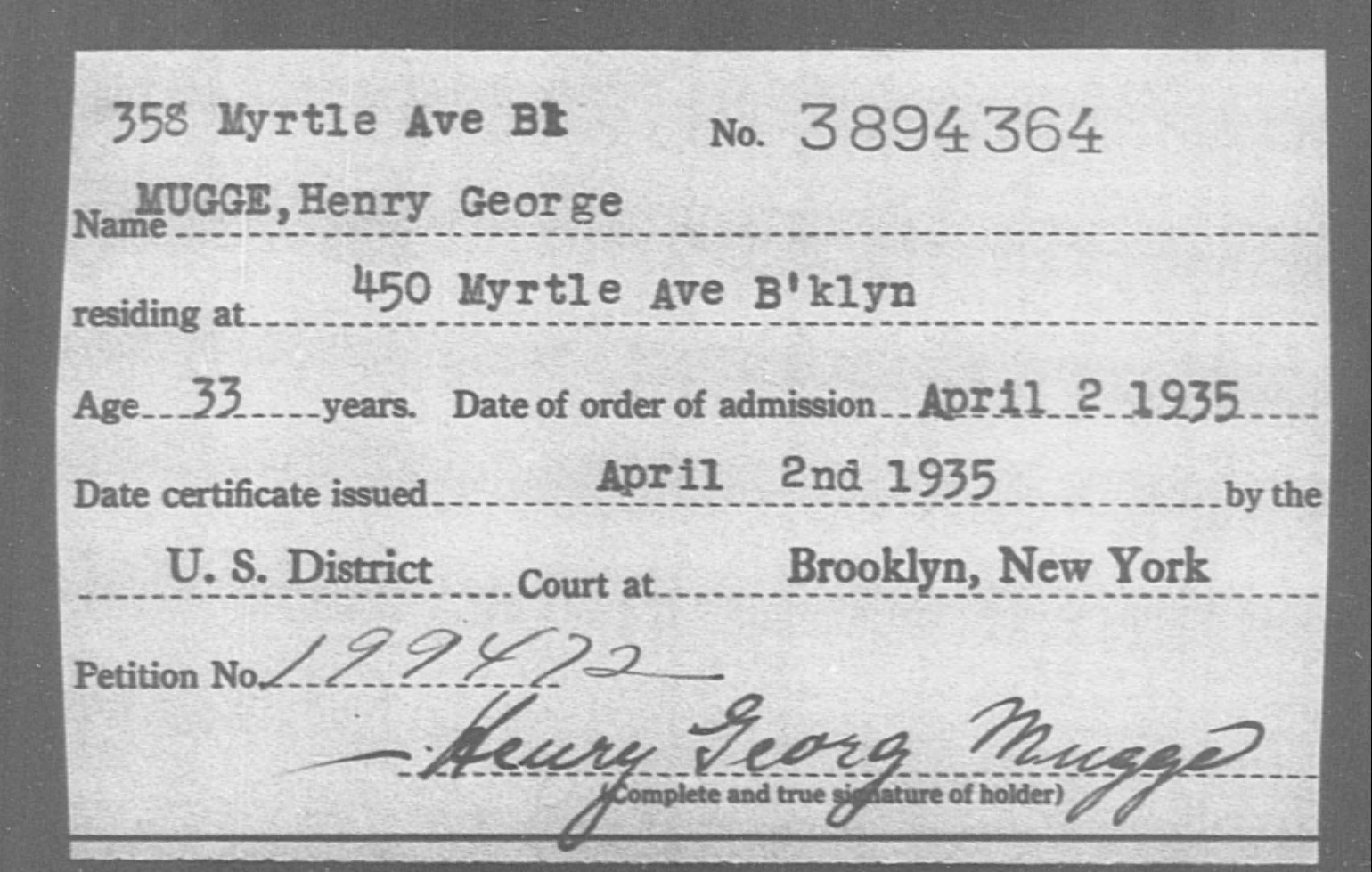 MUGGE, Henry George - Born: [BLANK], Naturalized: 1935