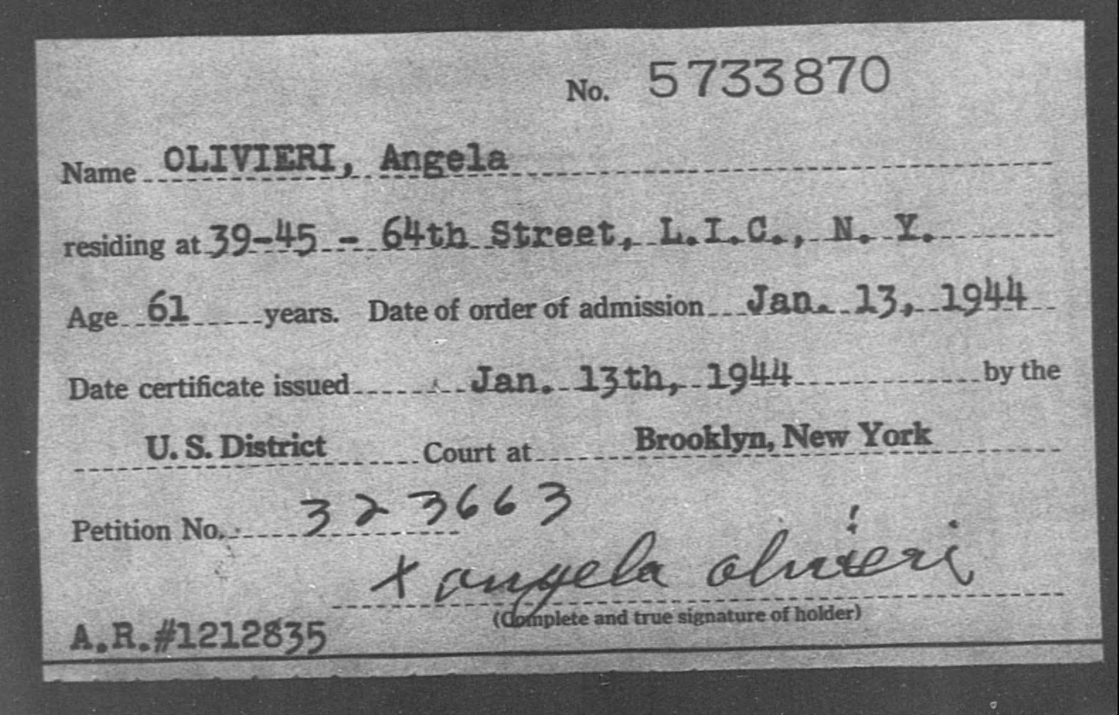 OLIVIERI, Angela - Born: [BLANK], Naturalized: 1944