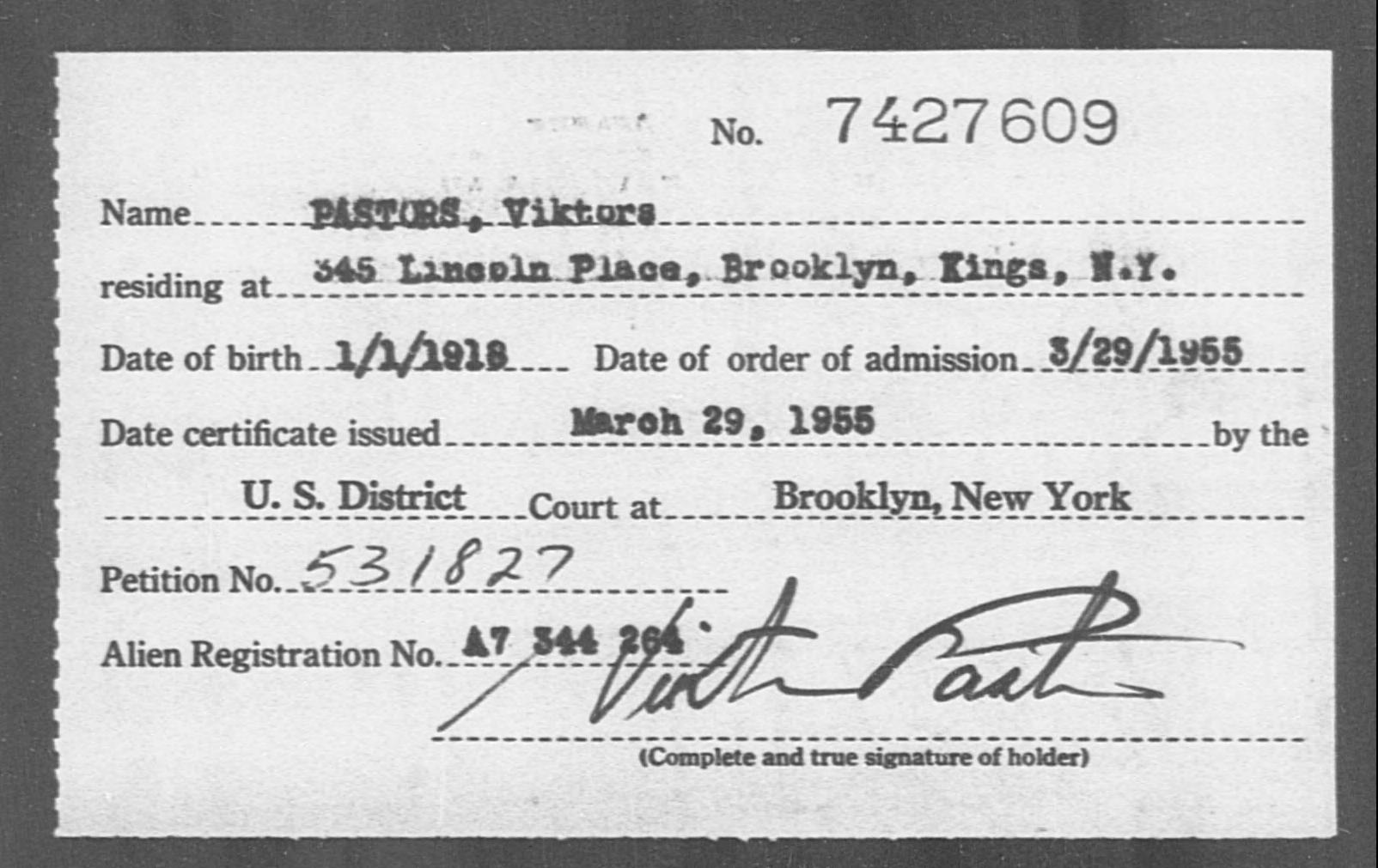 PASTORS, Viktors - Born: 1918, Naturalized: 1955