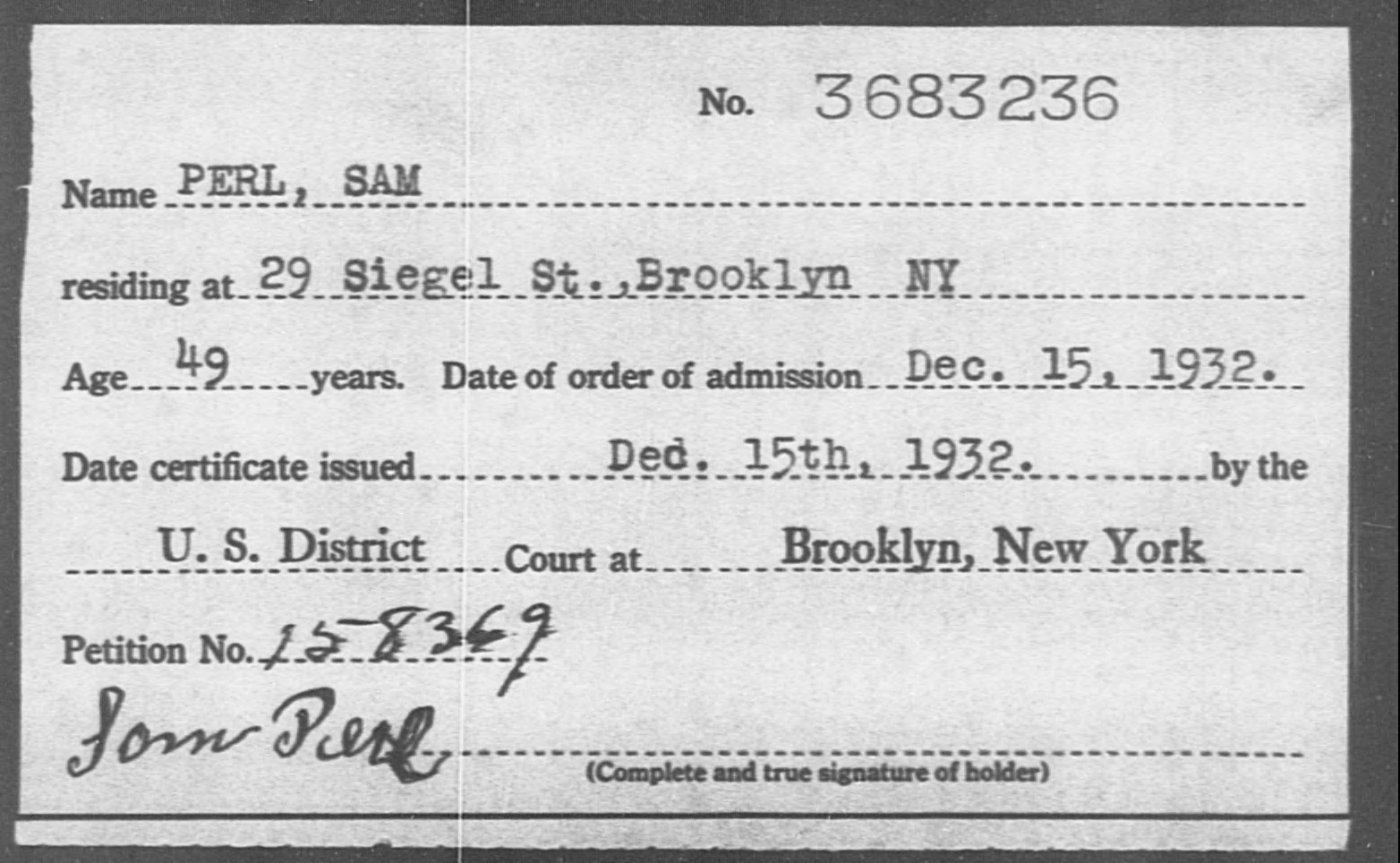 PERL, SAM - Born: [BLANK], Naturalized: 1932