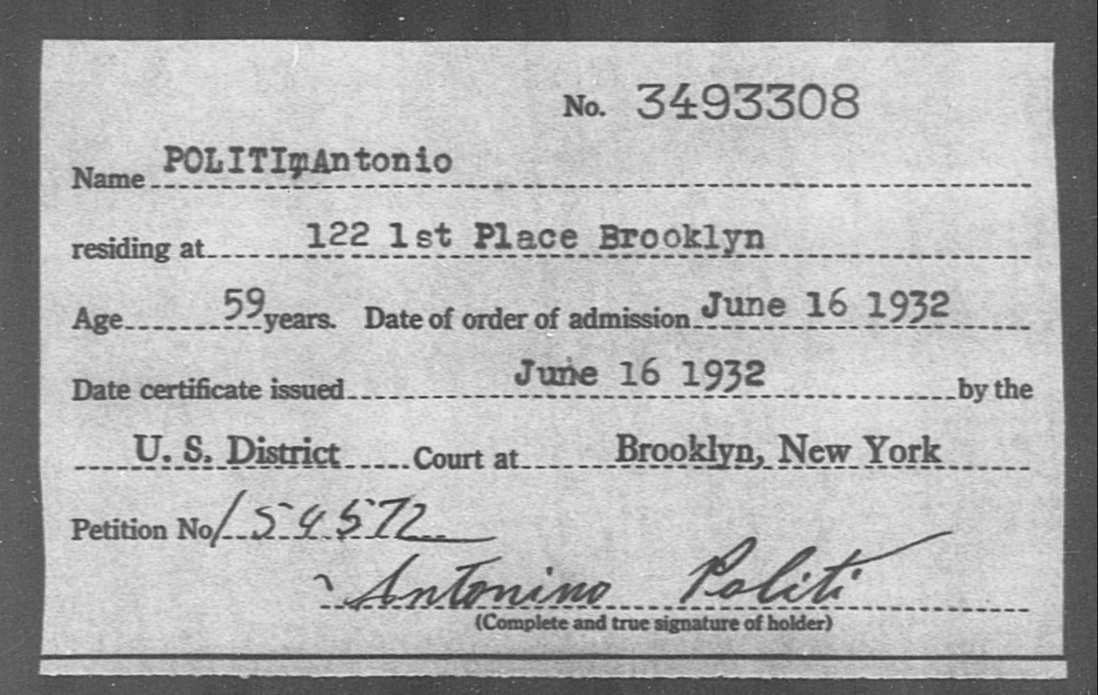 POLITI, Antonio - Born: [BLANK], Naturalized: 1932