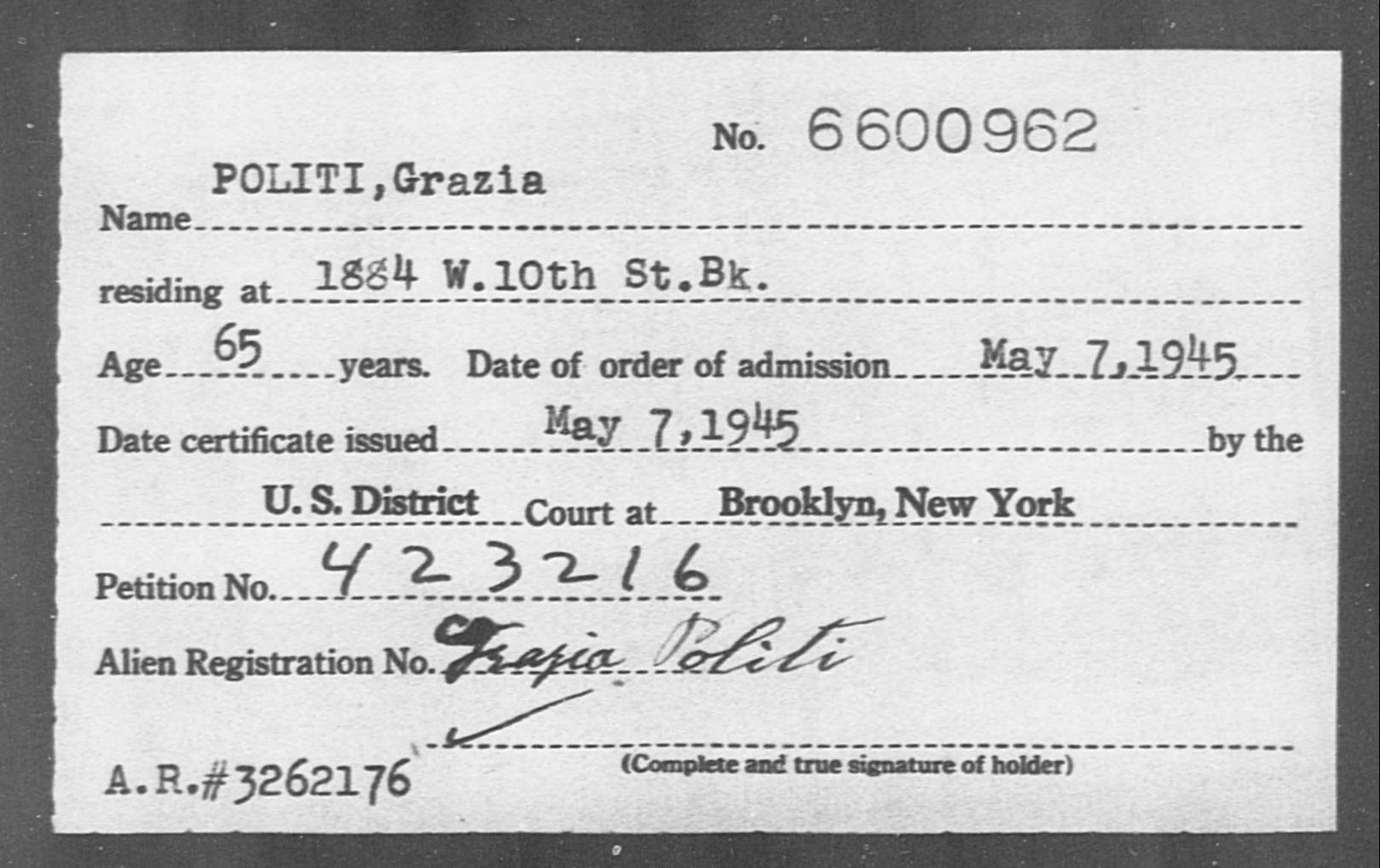 POLITI, Grazia - Born: [BLANK], Naturalized: 1945