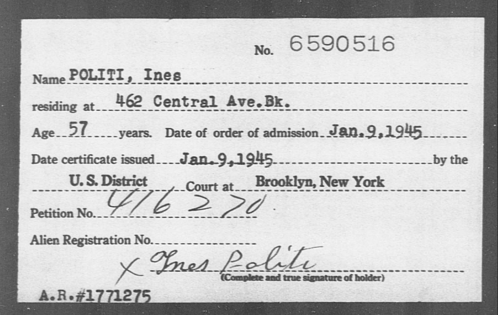 POLITI, Ines - Born: [BLANK], Naturalized: 1945
