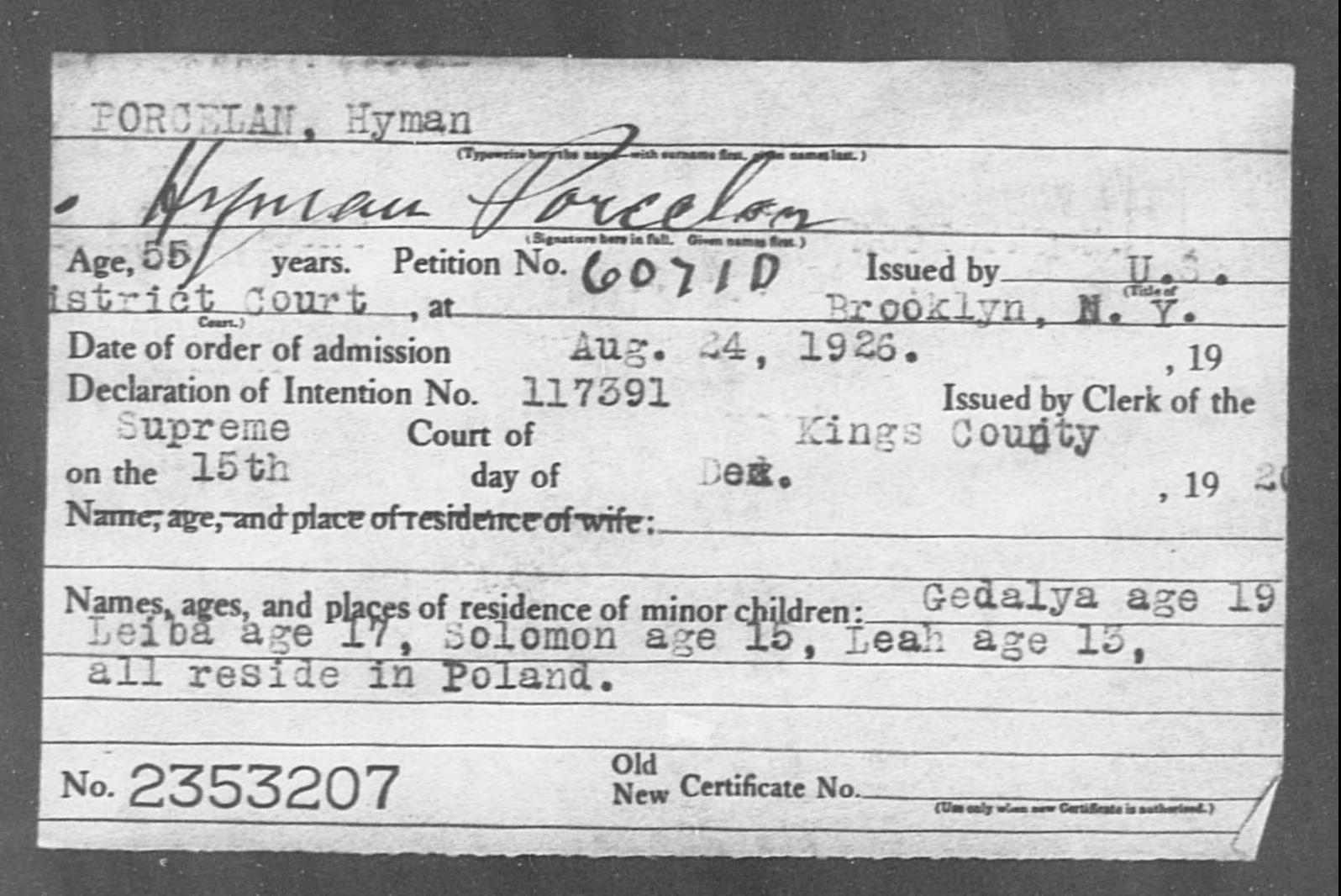 PORCELAN, Hyman - Born: [BLANK], Naturalized: 1926