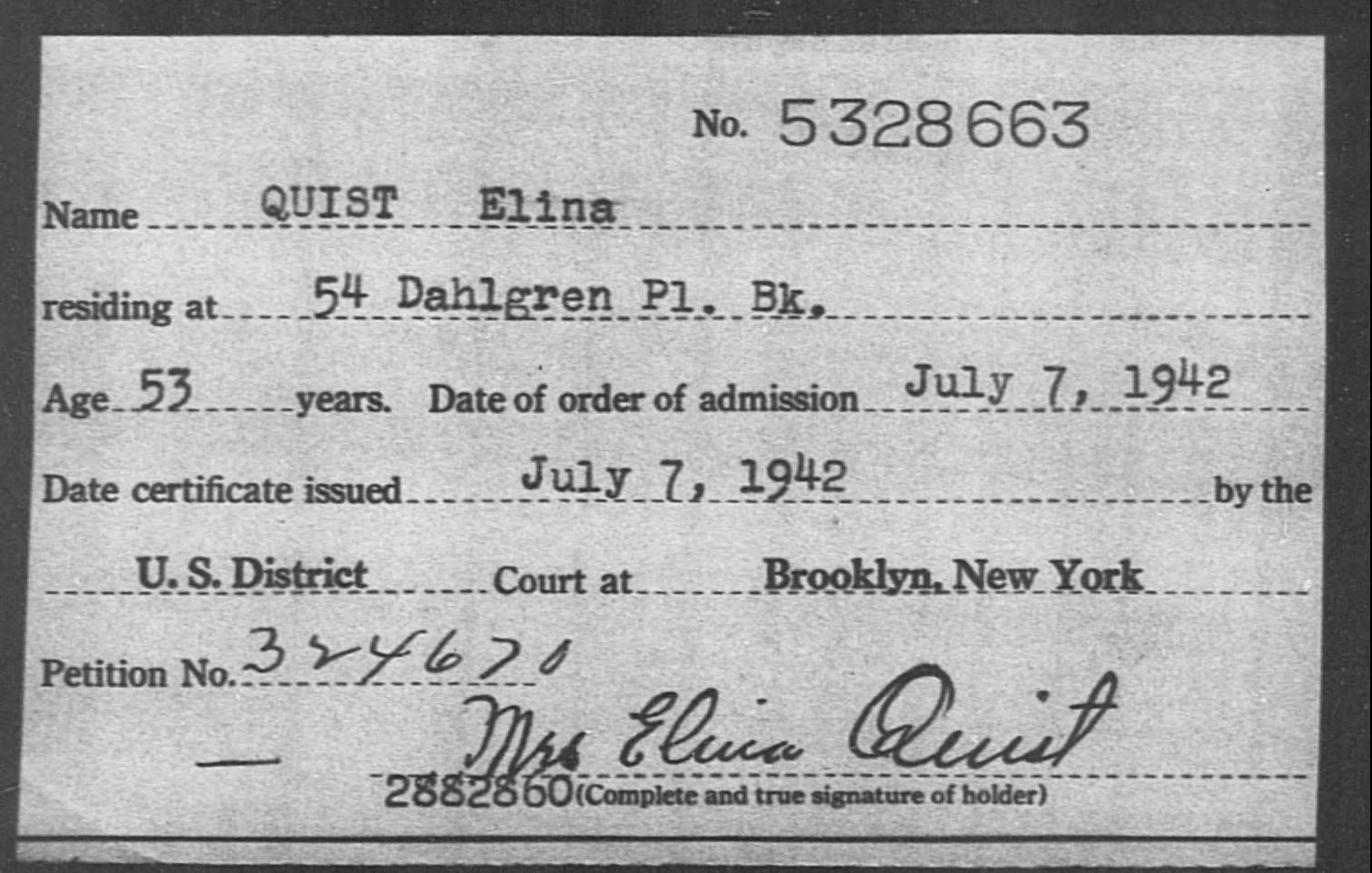 QUIST Elina - Born: [BLANK], Naturalized: 1942