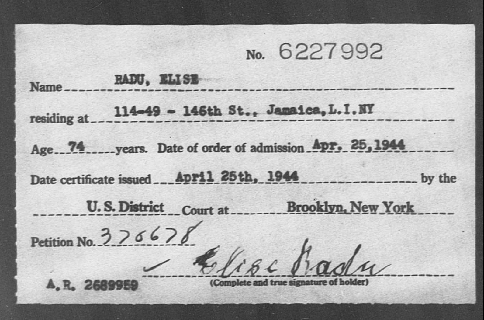 RADU, ELISE - Born: [BLANK], Naturalized: 1944