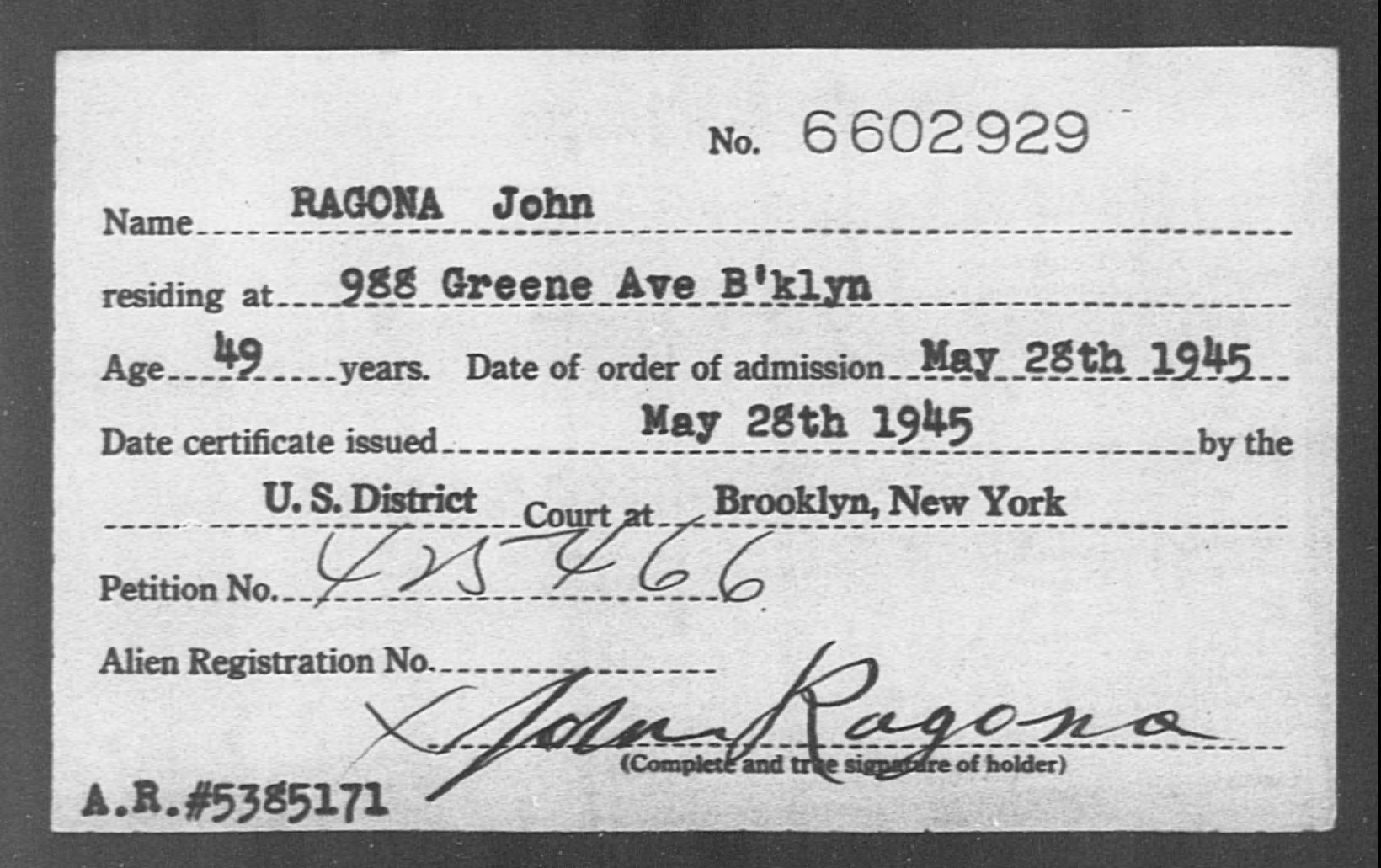 RAGONA John - Born: [BLANK], Naturalized: 1945