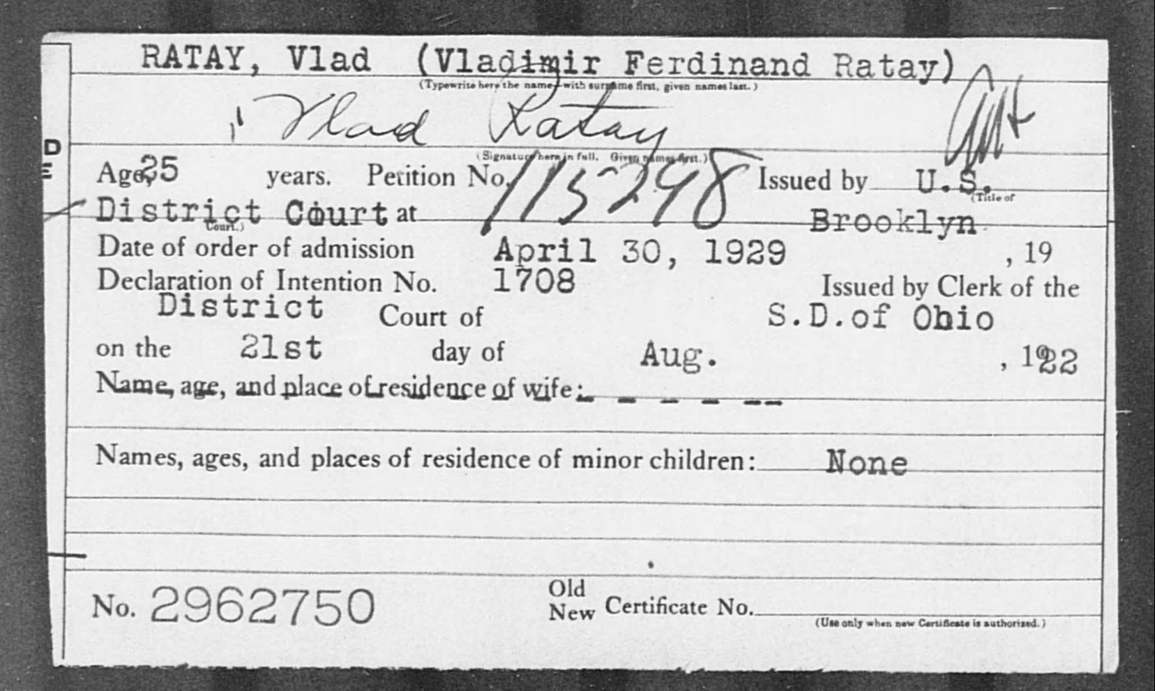 RATAY, Vlad - Born: [BLANK], Naturalized: 1929