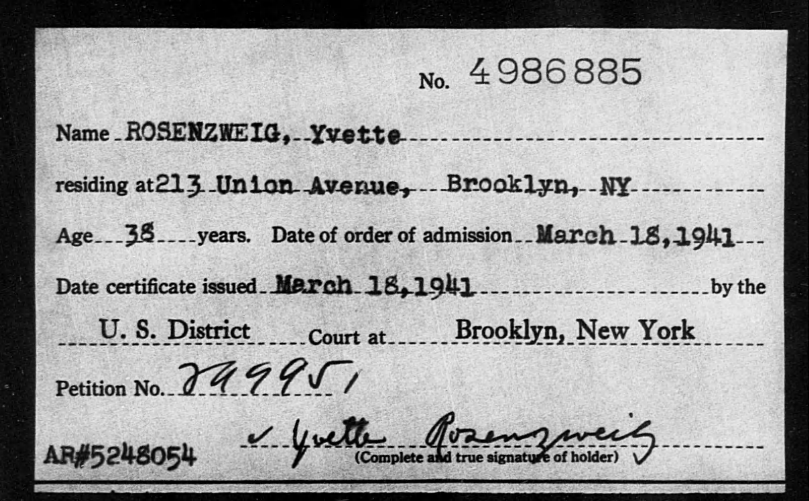 ROSENZWEIG, Yvette - Born: [BLANK], Naturalized: 1941