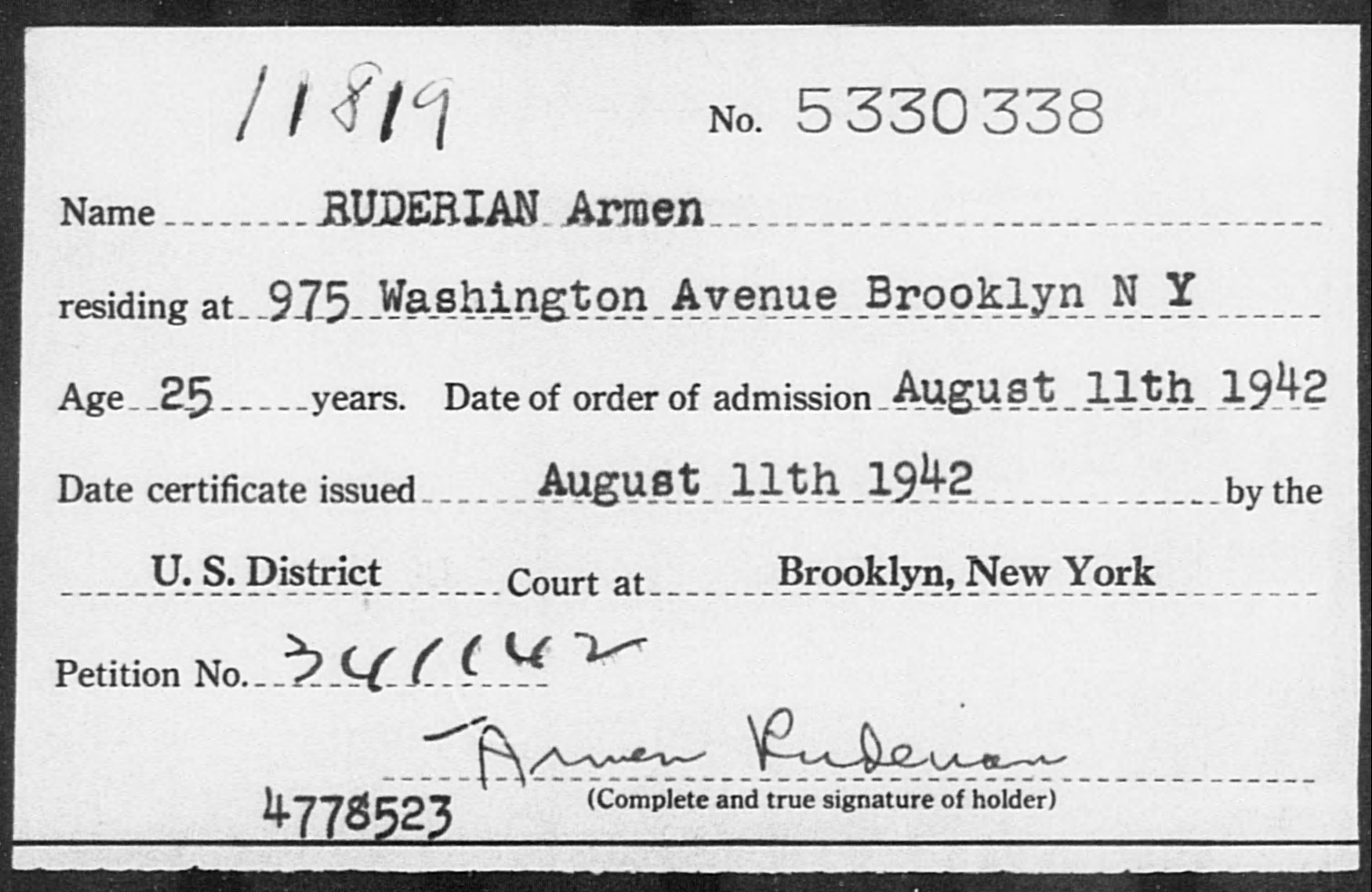 RUDERIAN Armen - Born: [BLANK], Naturalized: 1942
