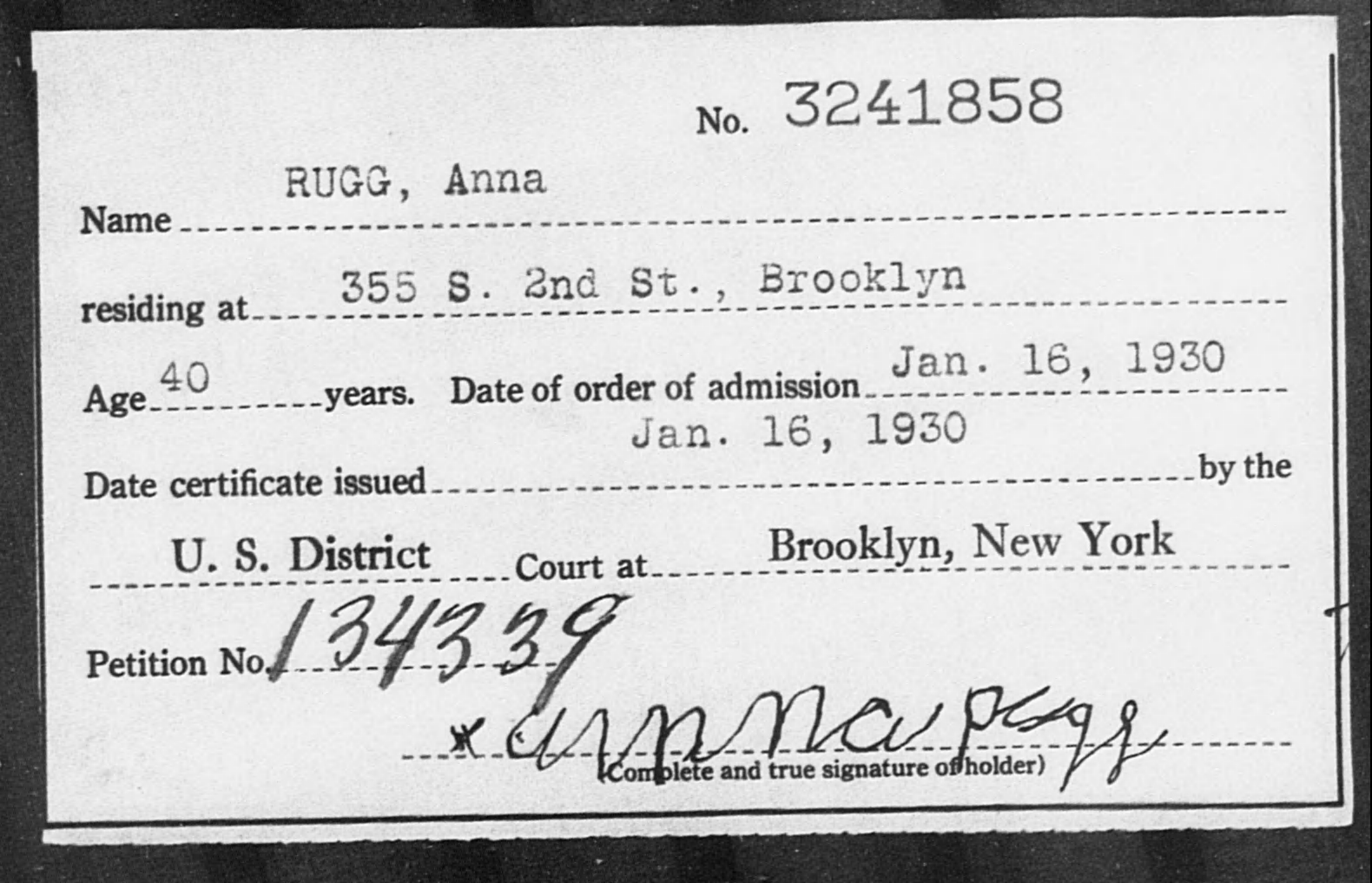 RUGG, Anna - Born: [BLANK], Naturalized: 1930
