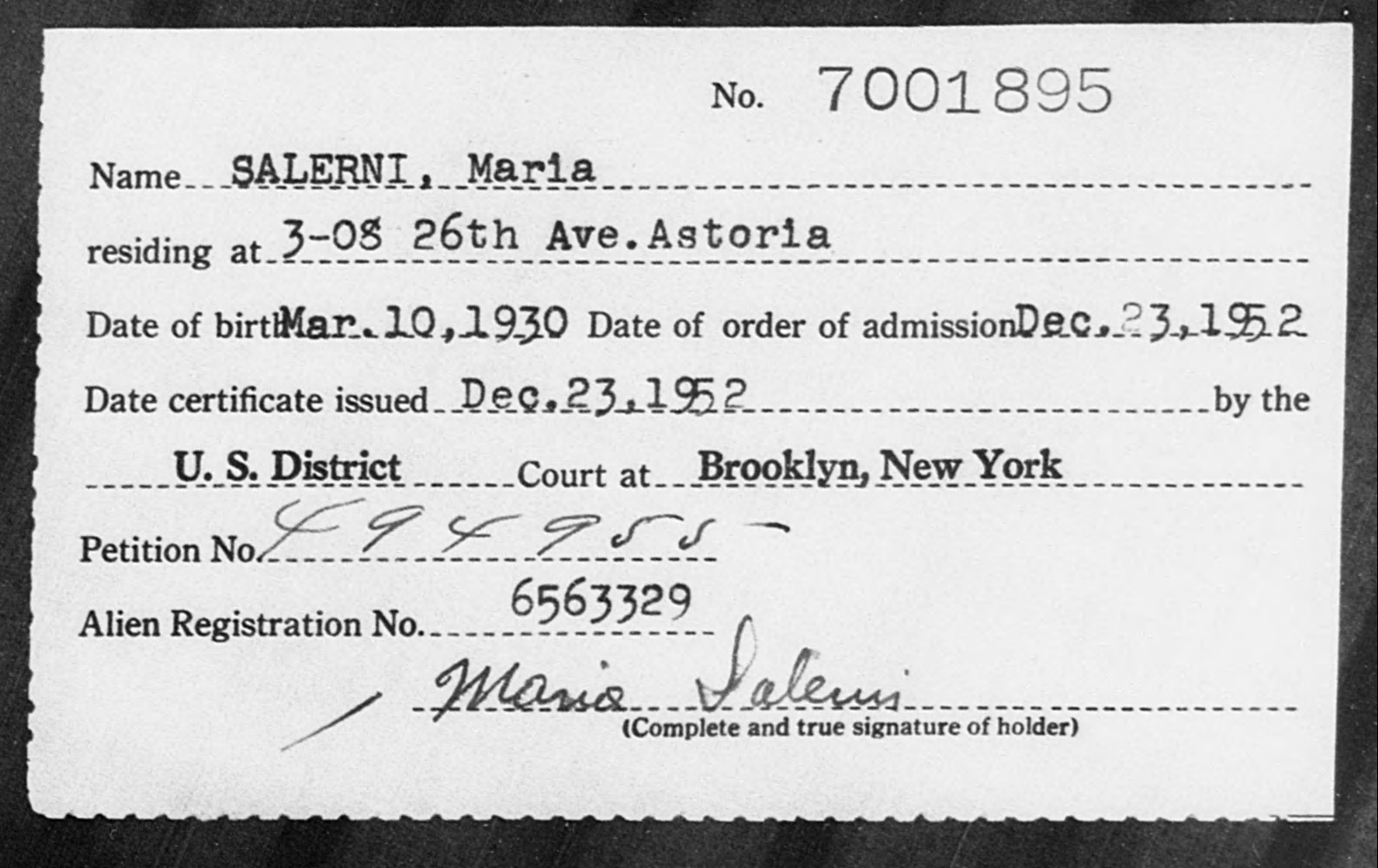 SALERNI, Maria - Born: 1930, Naturalized: 1952